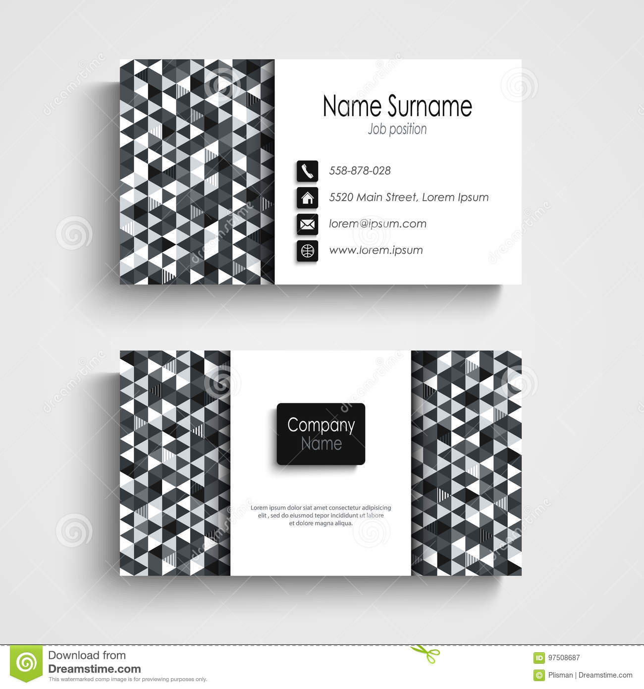 business card with abstract black white triangles template stock