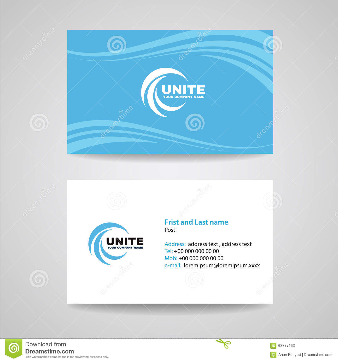 business card background template blue sky wave style