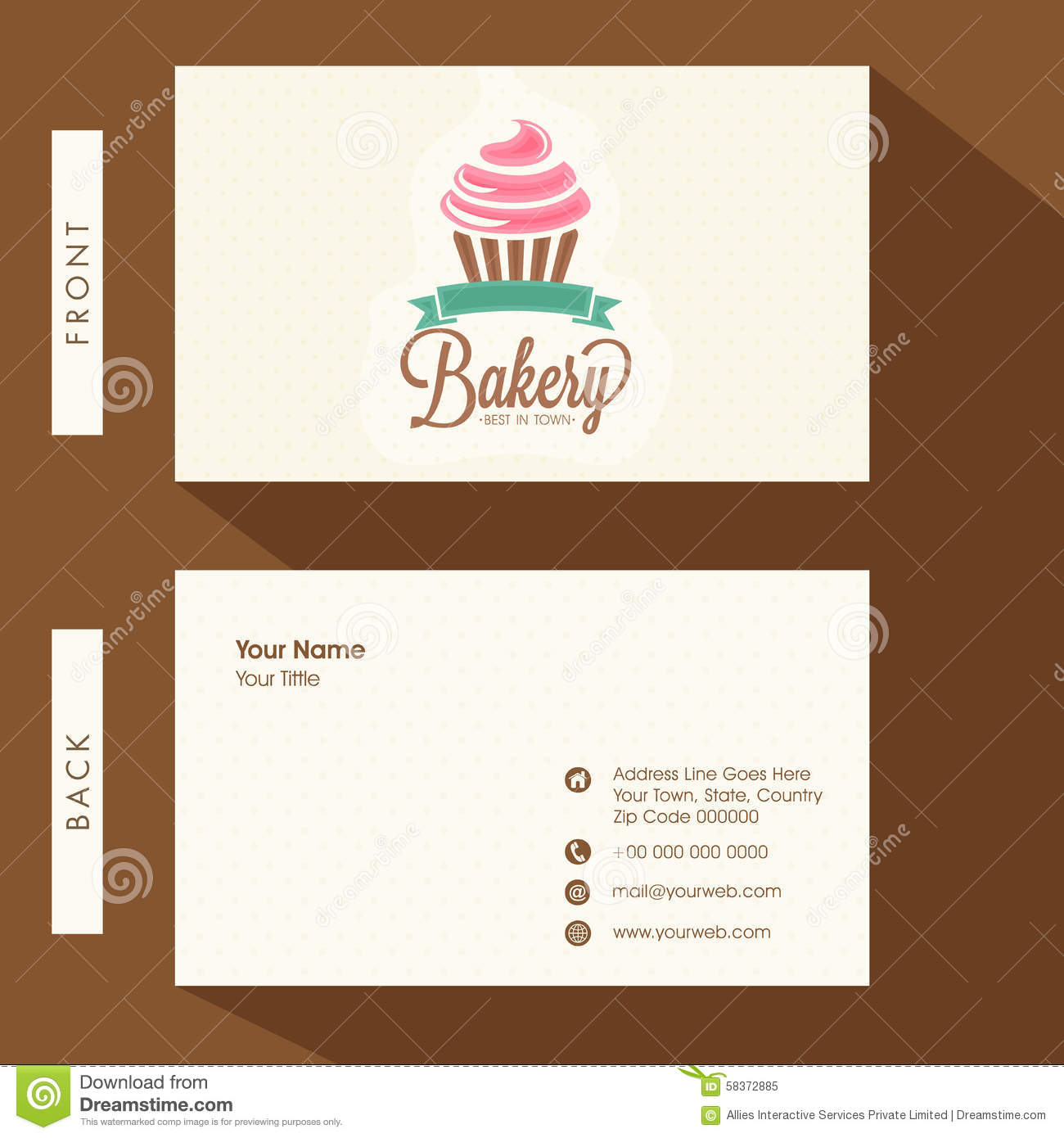 Business Card For Bakery. Stock Illustration - Image: 58372885