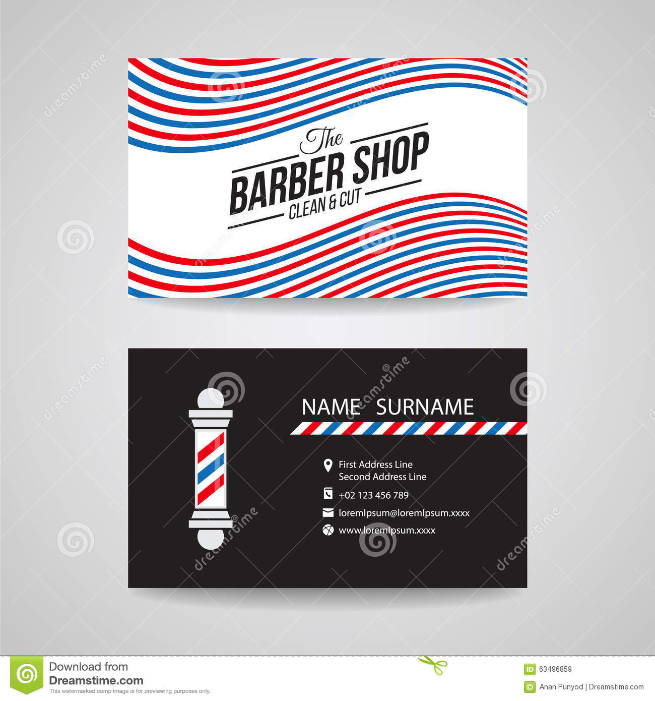 Business Card Template Design Barber Shop Stock Illustrations – 205 ...