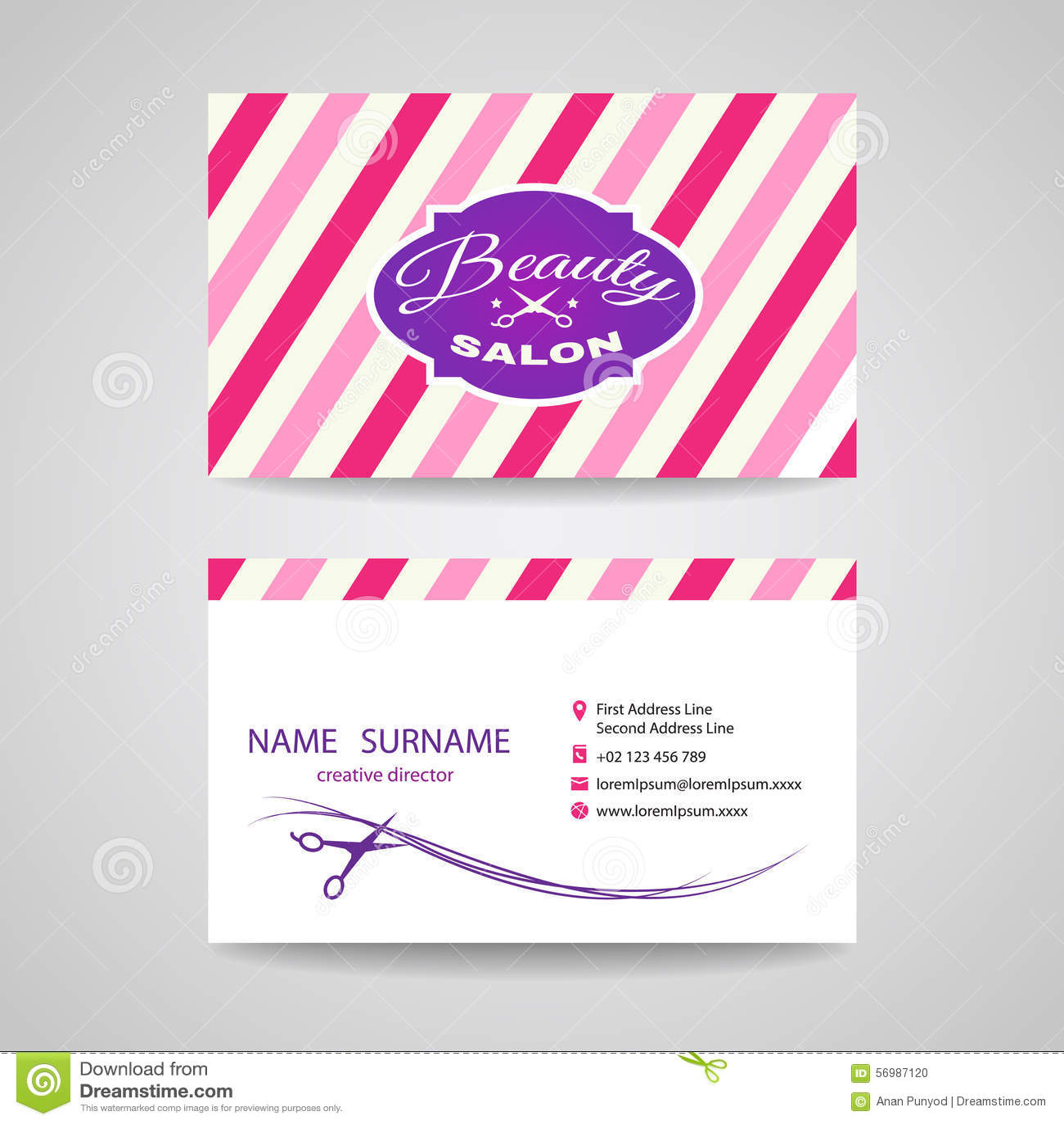 Business Card Beauty Salon - Pink Tone Vector Design Illustration ...