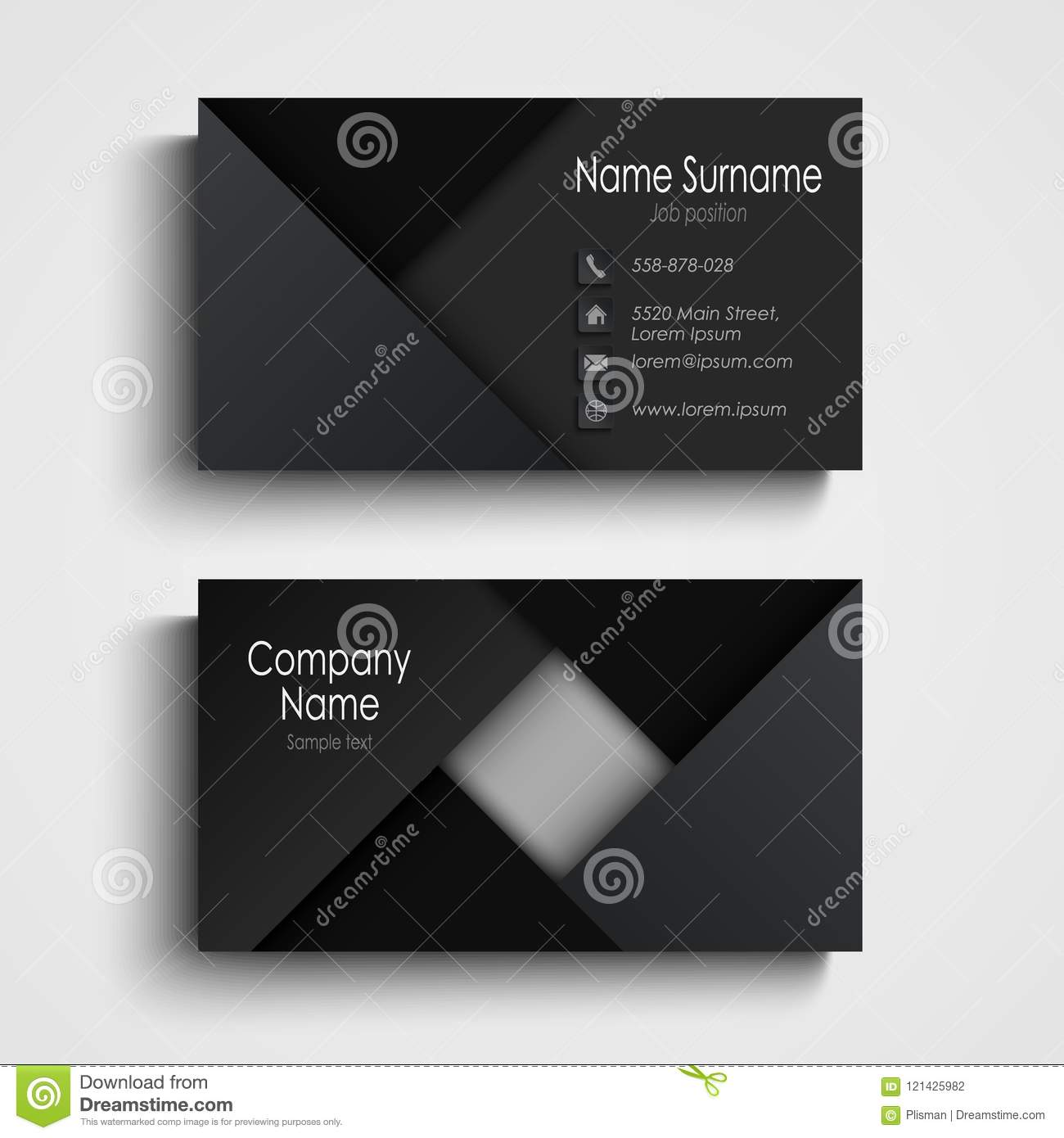 business card in black design with triangles template stock vector