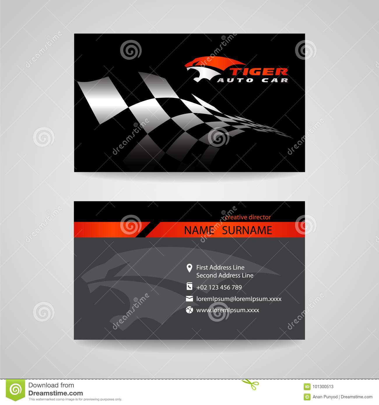 Download Business Card Black And Orange With Checkered Flag Stock Vector