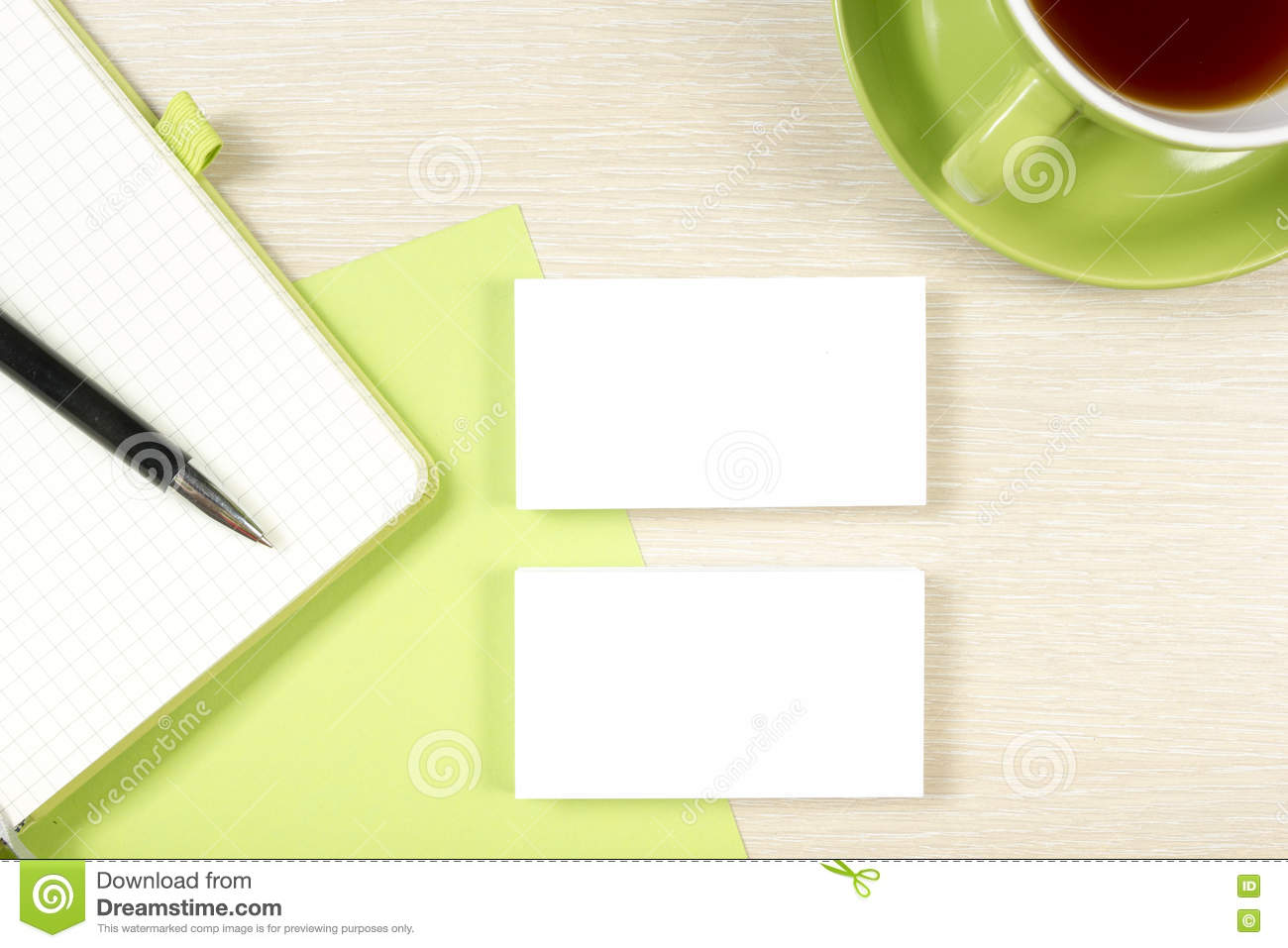 Business Card Blank, Notepad And Pen At Office Desk Table Top View ...