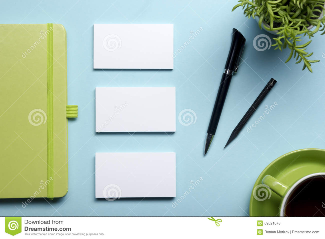 Business Card Blank, Notepad, Flower, Coffee Cup And Pen At Office ...