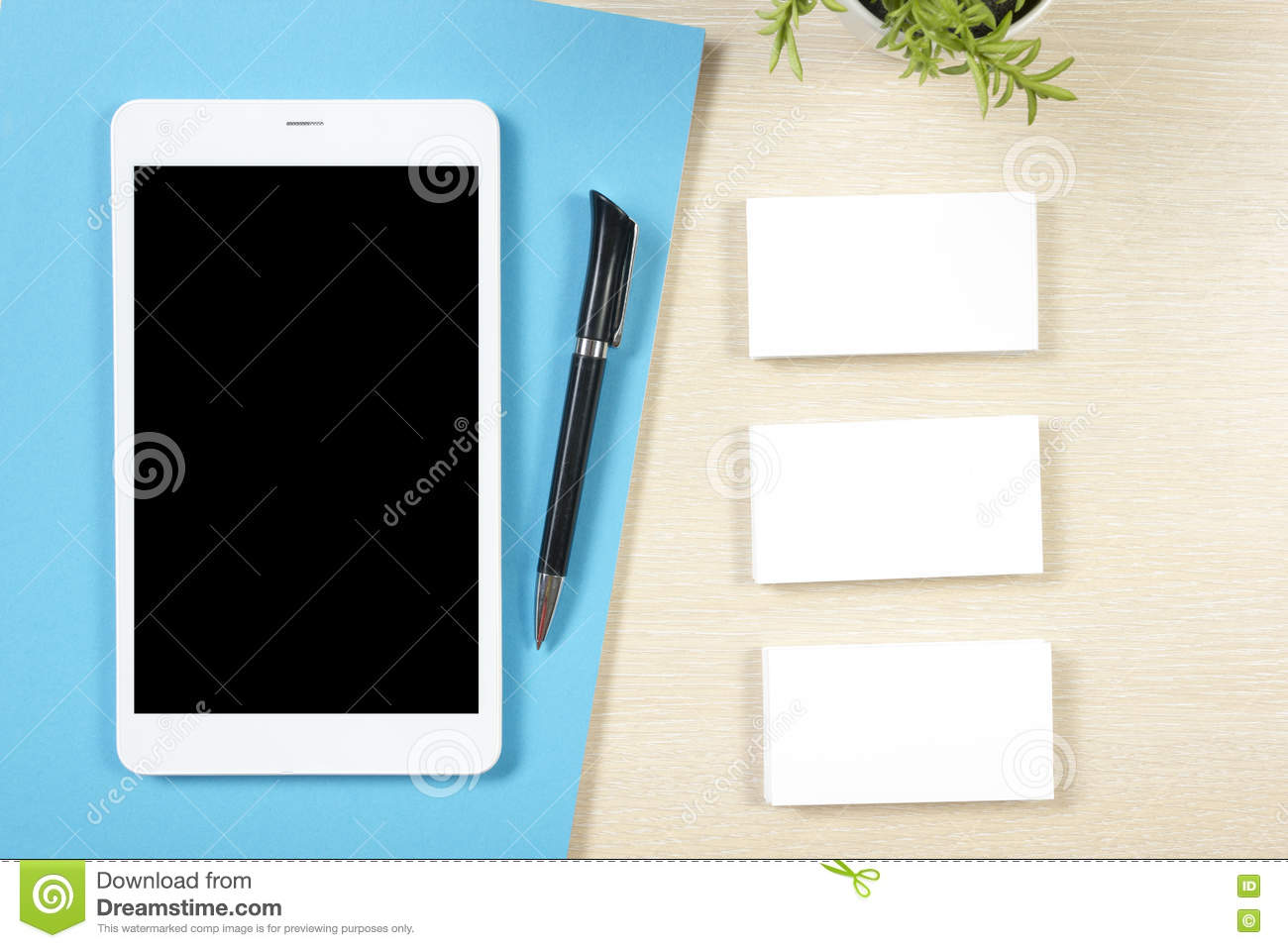 Business Card Blank, Smartphone Or Tablet Pc, Flower And Pen At ...