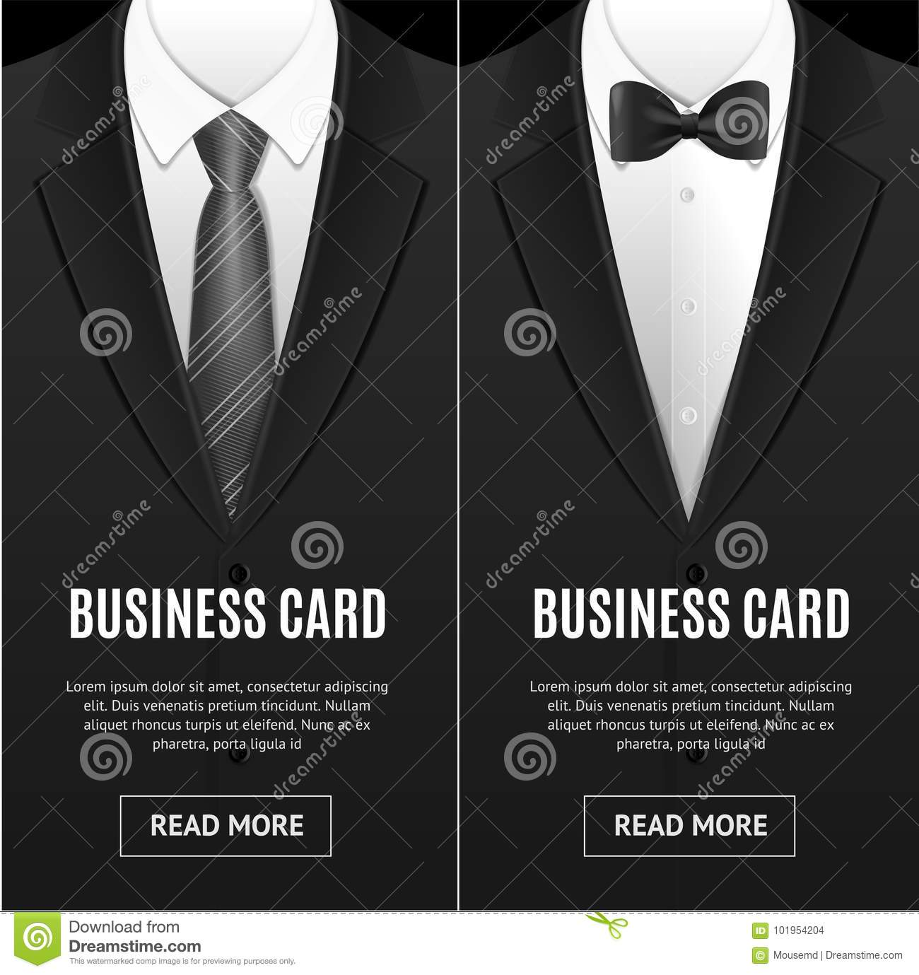 bc577aa53452 Business Card Bow Tie And Necktie Set. Vector Stock Vector ...