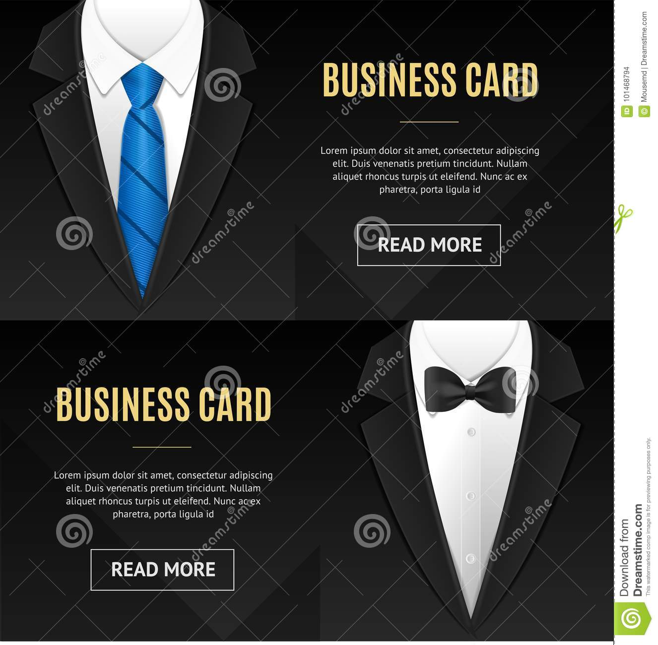 Business Card Bow Tie And Necktie Set. Vector Stock Vector ...