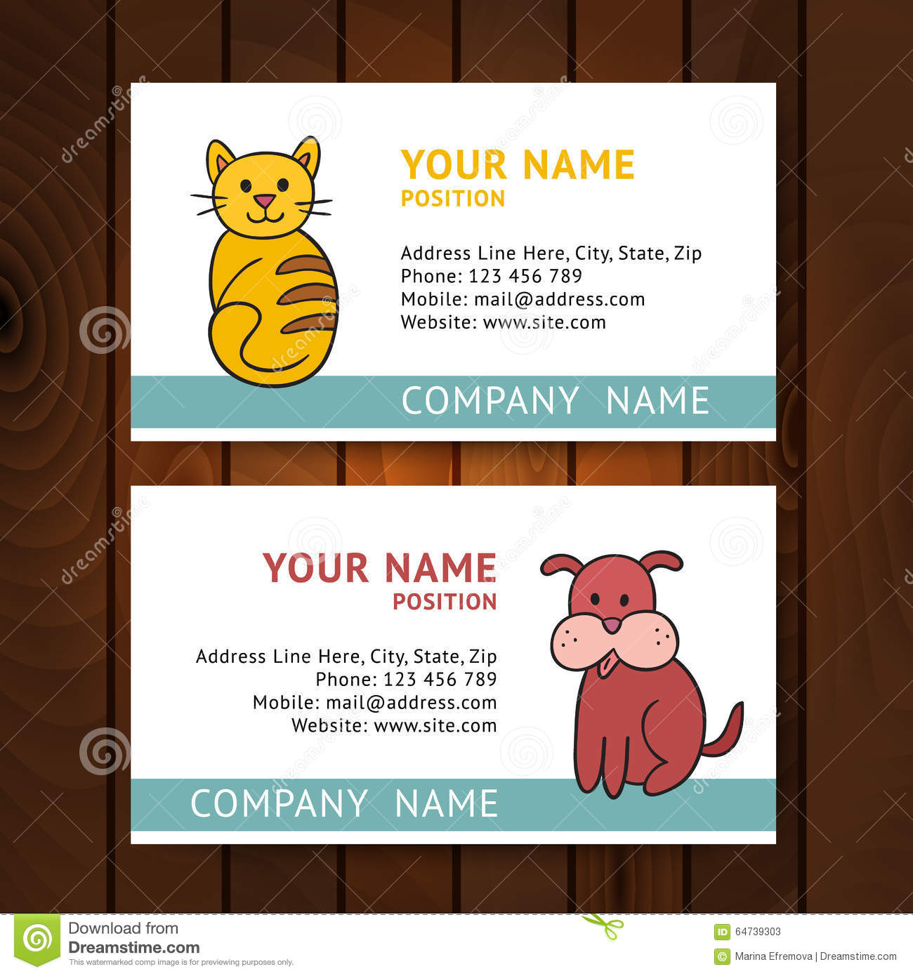 Business card with cat and dog for veterinary clinics on wooden business card with cat and dog for veterinary clinics on wooden colourmoves