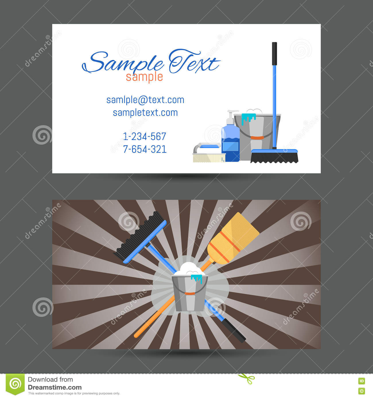Business Card Of Cleaning Service Stock Vector Illustration Of