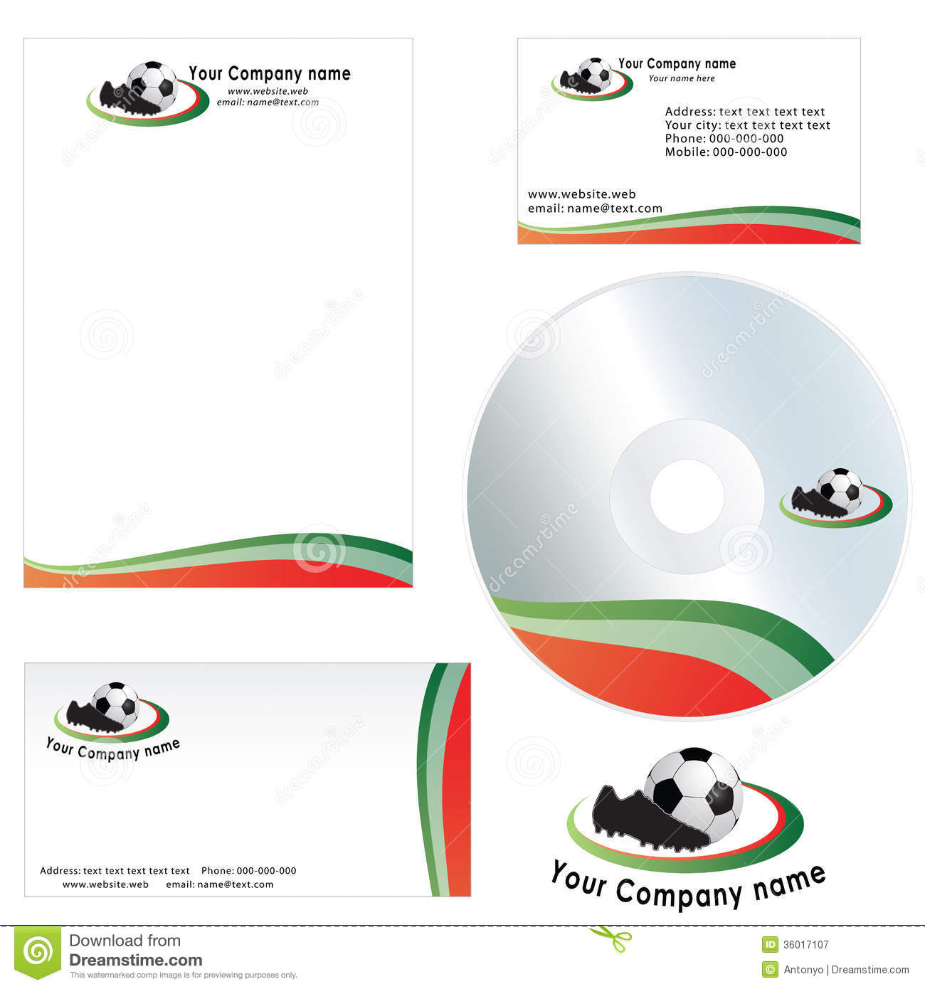 Business Card For Company  Letterhead Template Stock Vector