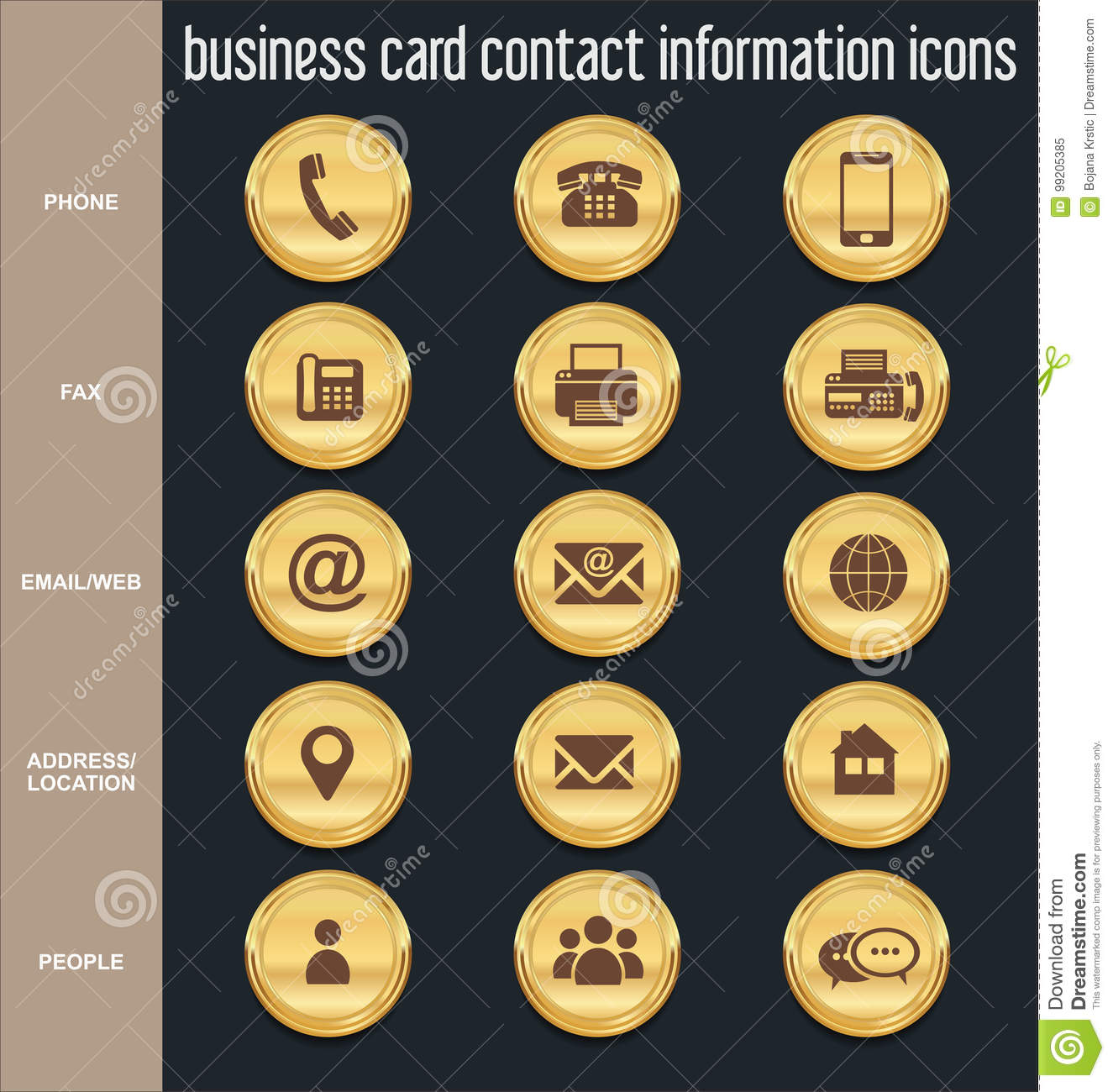 Business Contact: Business Card Contact Information Icons Collection Stock