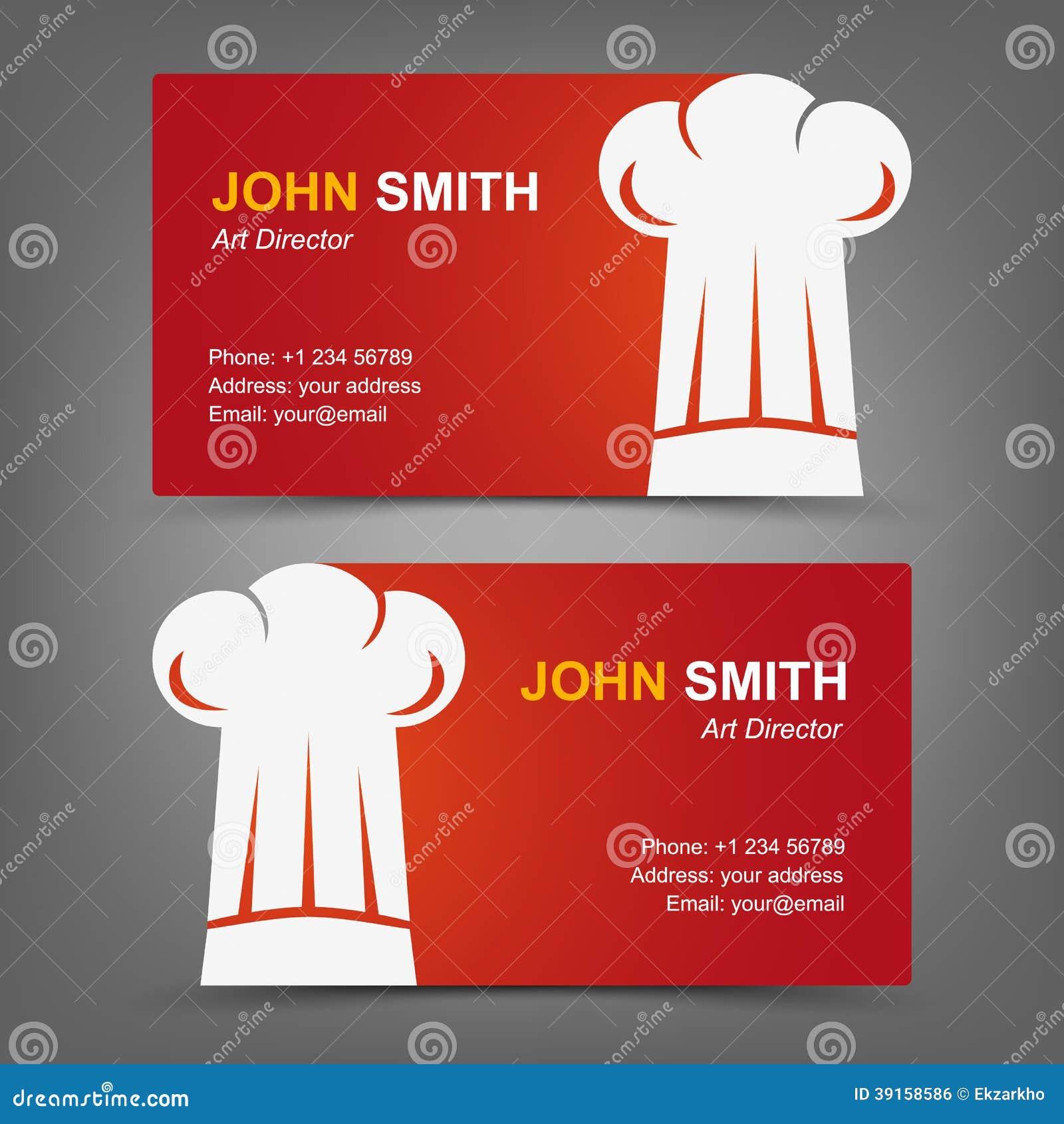 Business Card Cook Restaurant Stock Vector