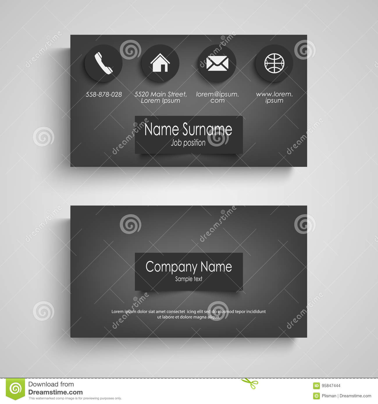 Business card dark with design labels template stock vector business card dark with design labels template wajeb Choice Image