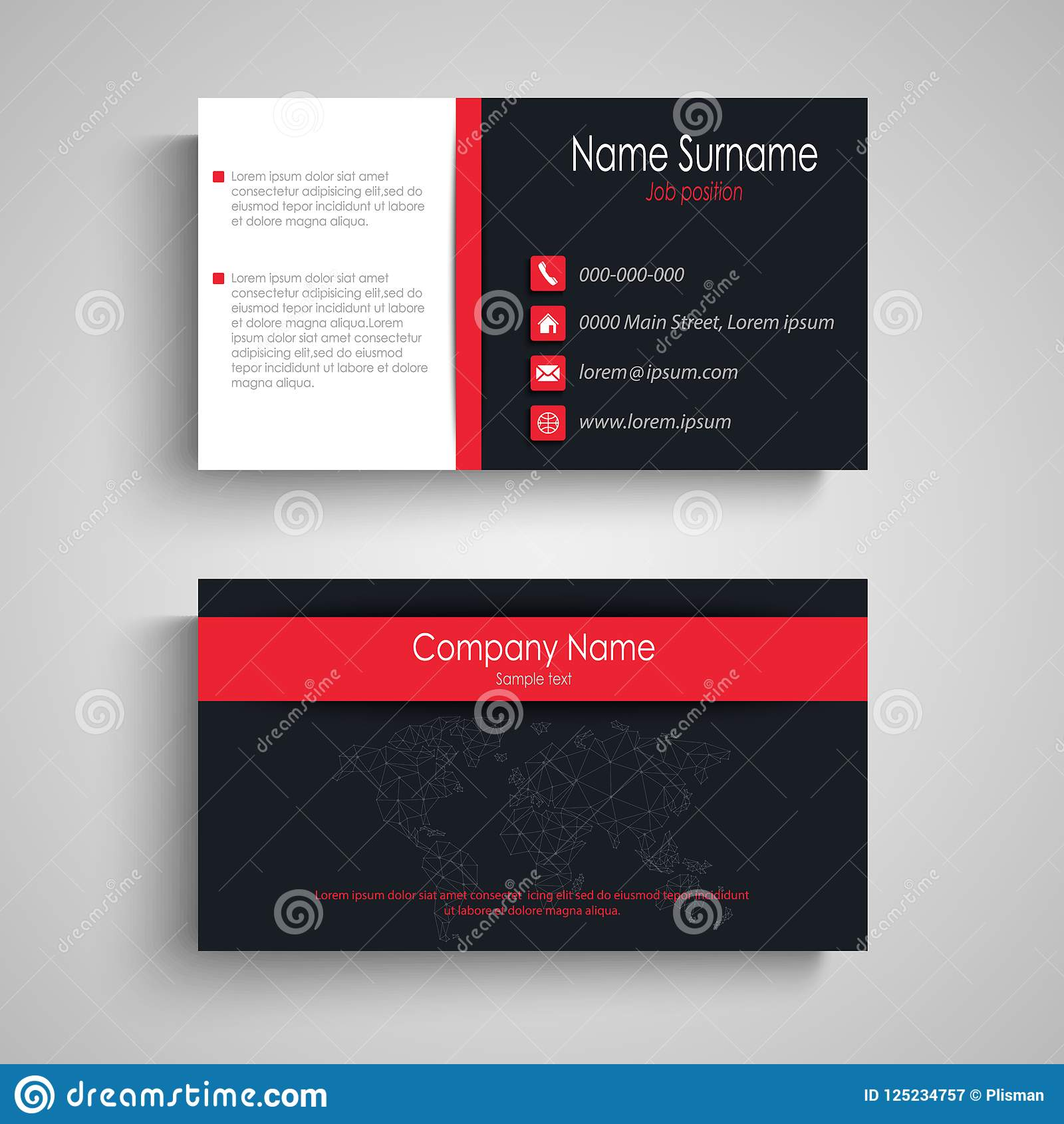 Business Card With Dark Red Design Effects Stock Vector