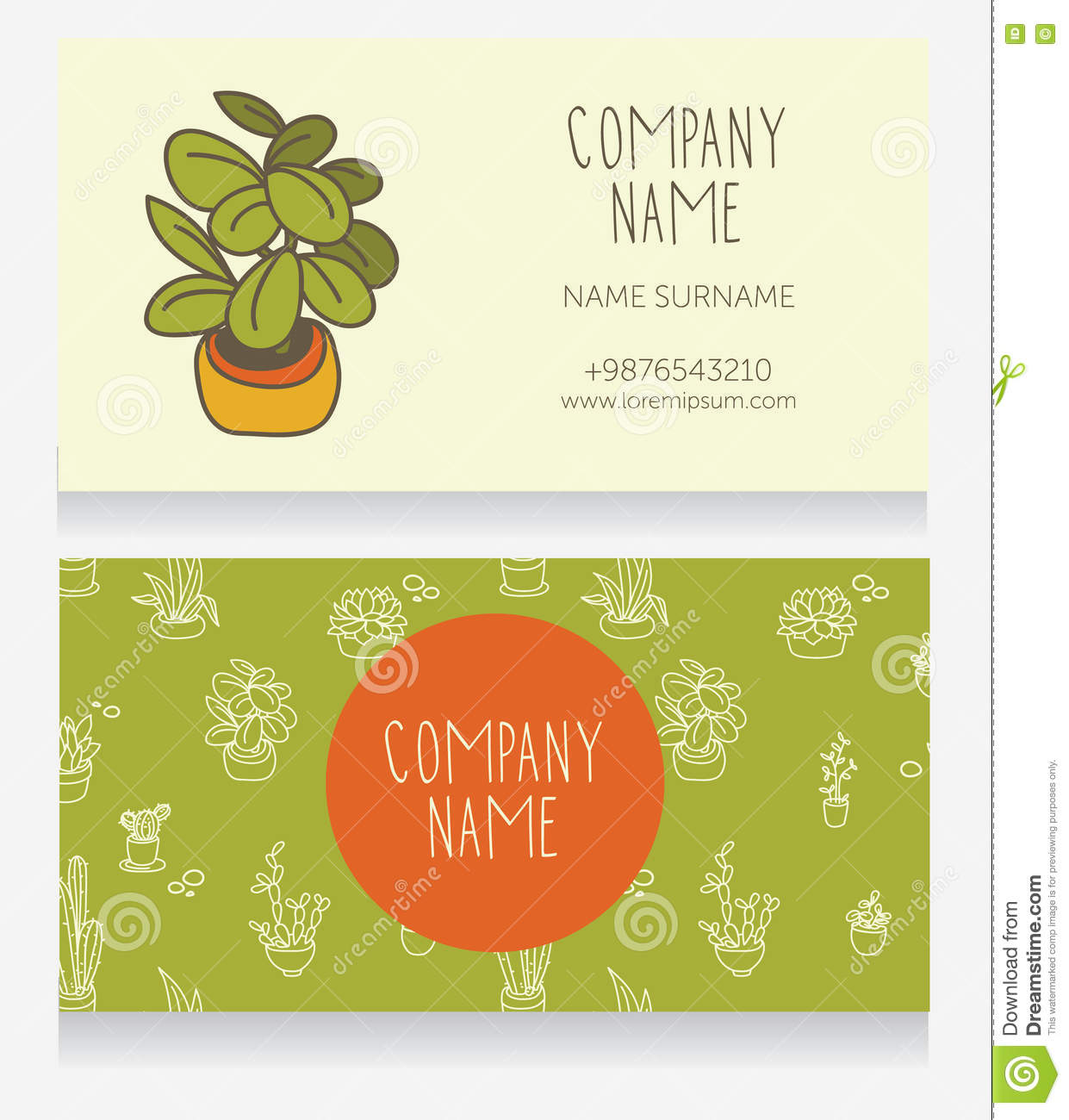 business card design with cute potted plants stock vector image