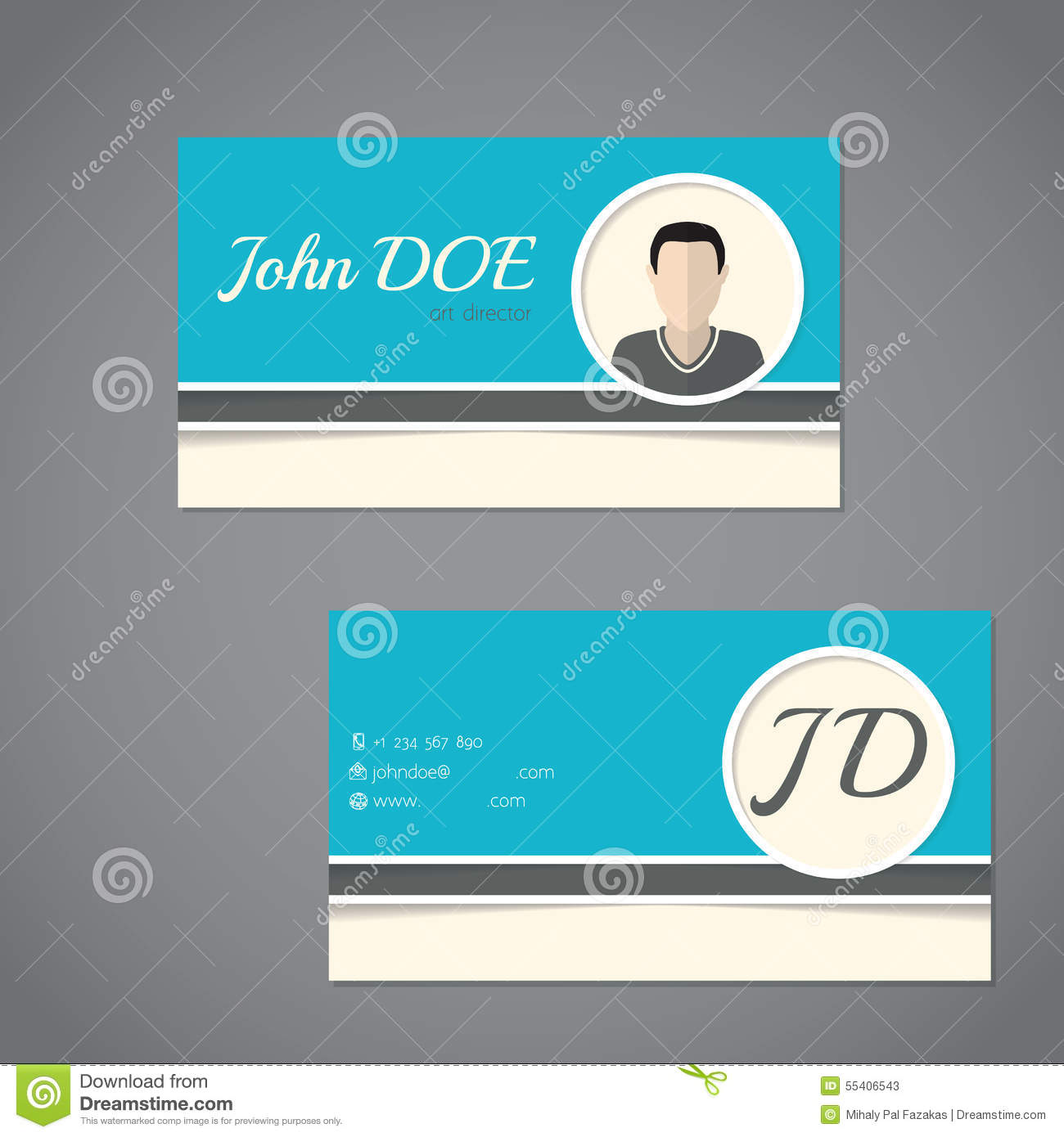 Business Card Design With Front And Back Side Illustration ...