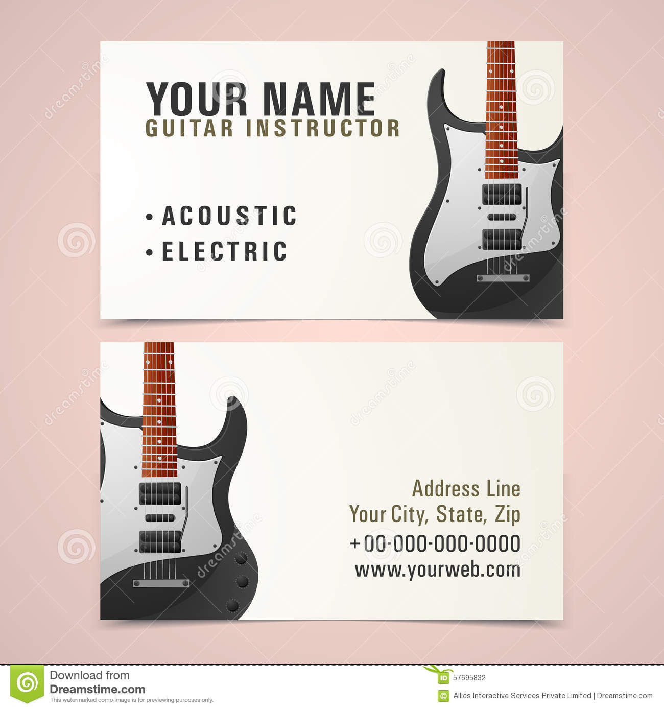 Business card design for music instructor stock photo for Music business card design