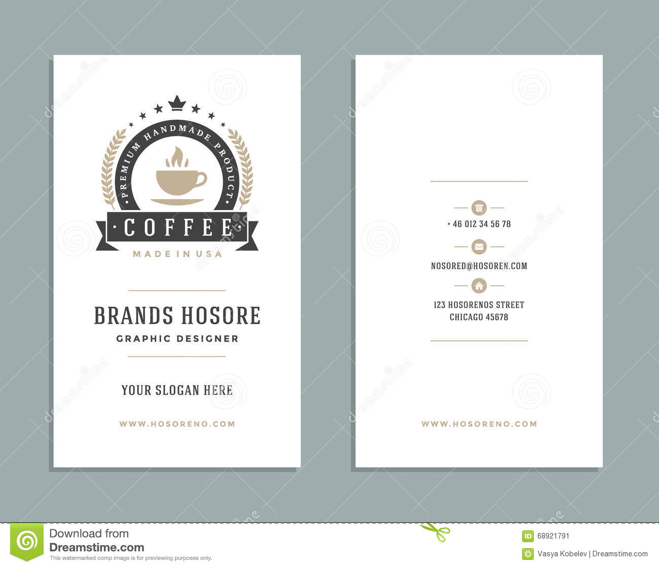 business card design and retro logo template vector design element