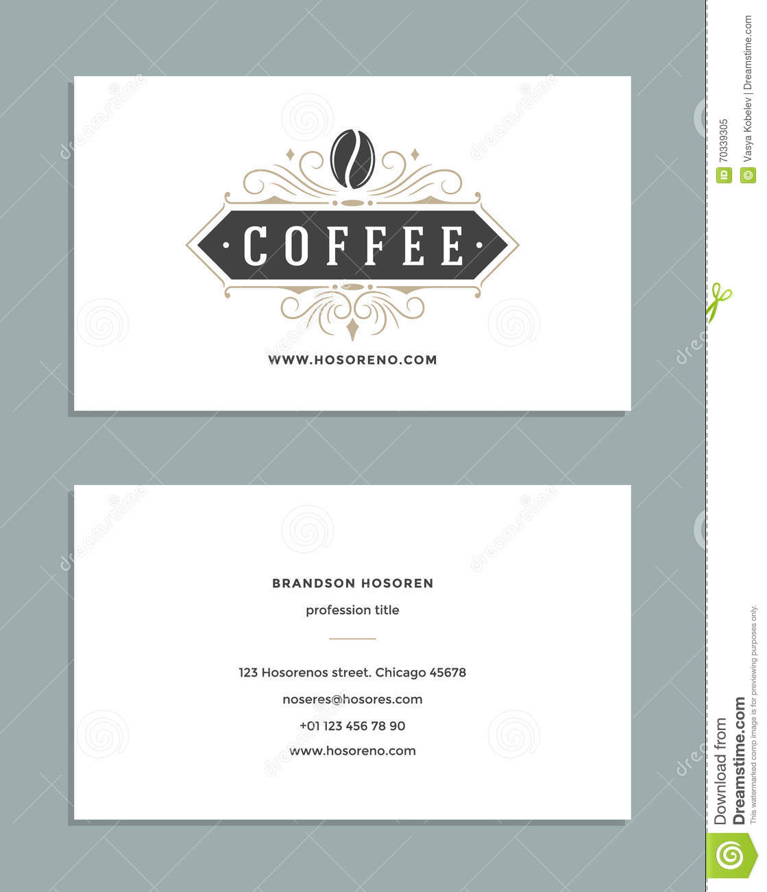 Business card design and retro style template coffee shop for Coffee business