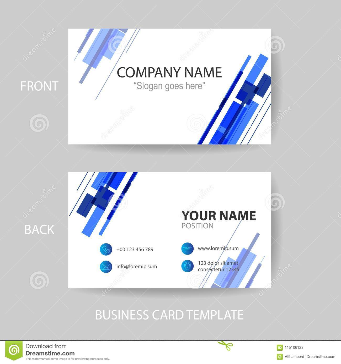 business card design template abstract vector stock illustration