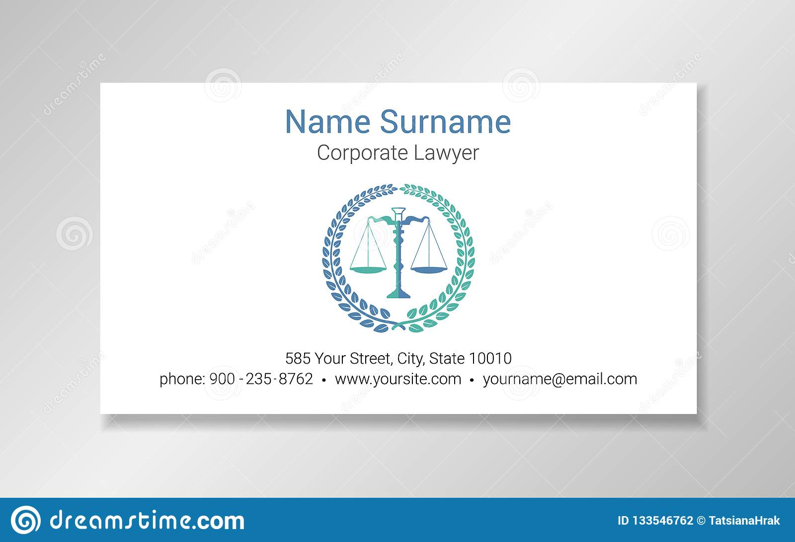 Lawyer Business Card Design Template Stock Vector Illustration Of