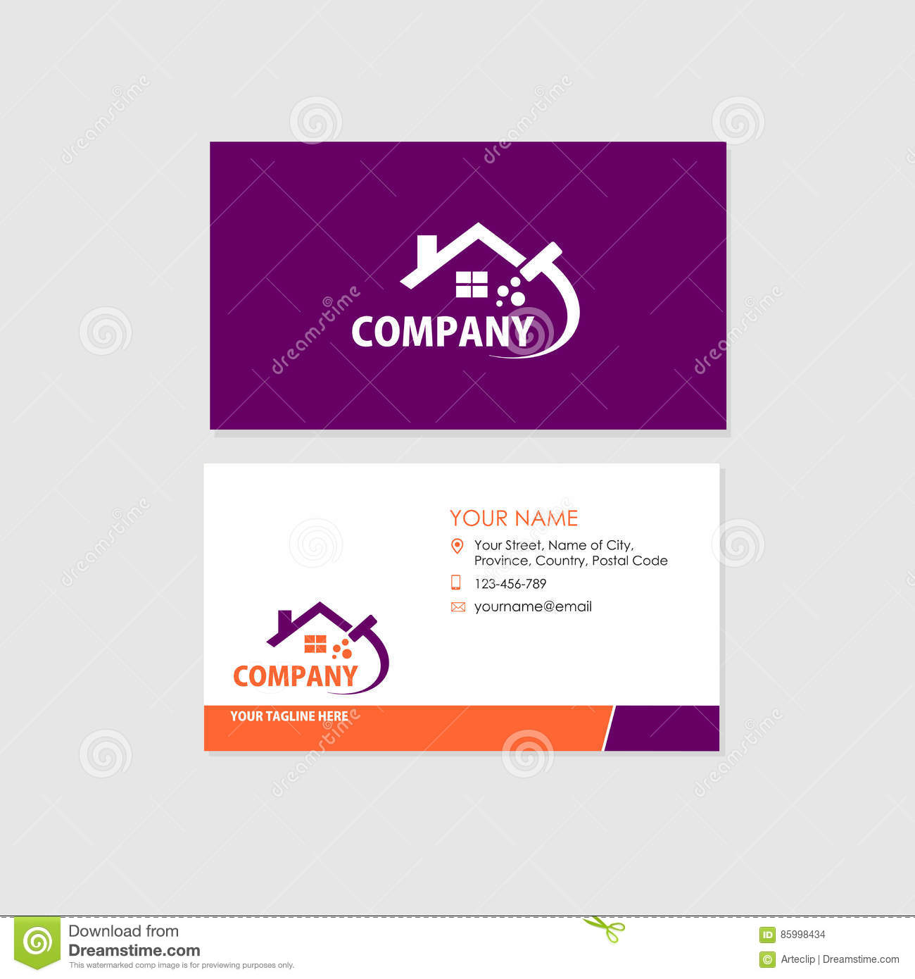 Business Card Design Template Cleaning Company Stock Vector