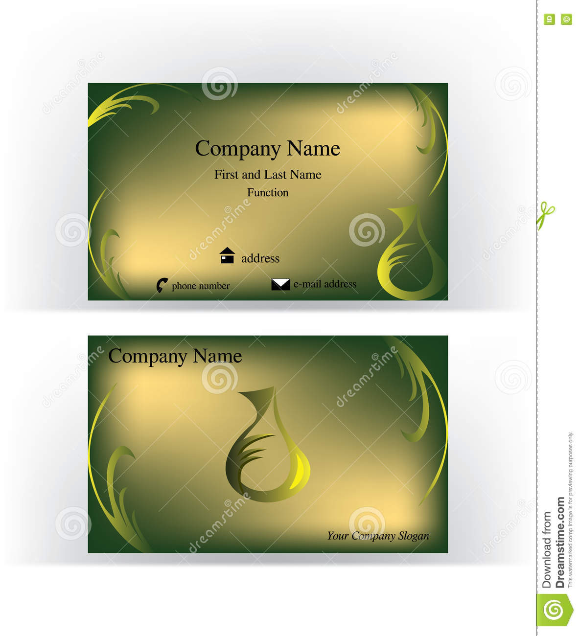 Business card with drop logo imitating a cruet stock vector business card with drop shaped logo imitating a cruet and abstract herb decorations magicingreecefo Image collections