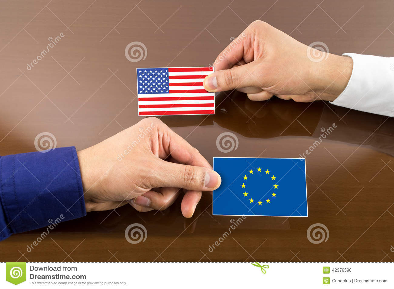 Business Card With Europe And Usa Flag Stock Photo Image Of Close