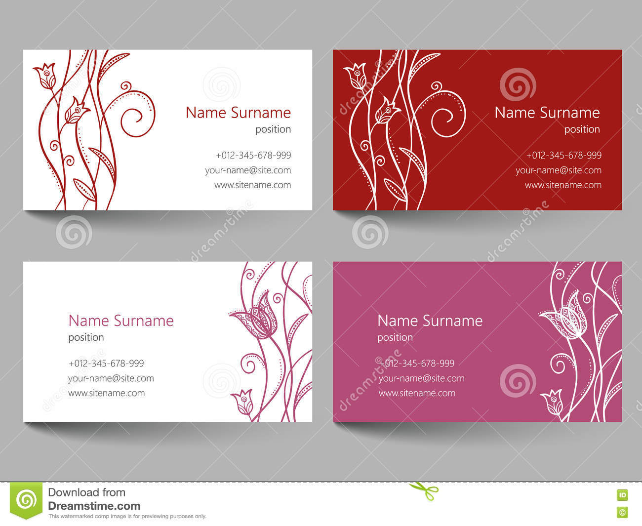 Business Card With Floral Doodle Design Stock Vector - Image: 75615772