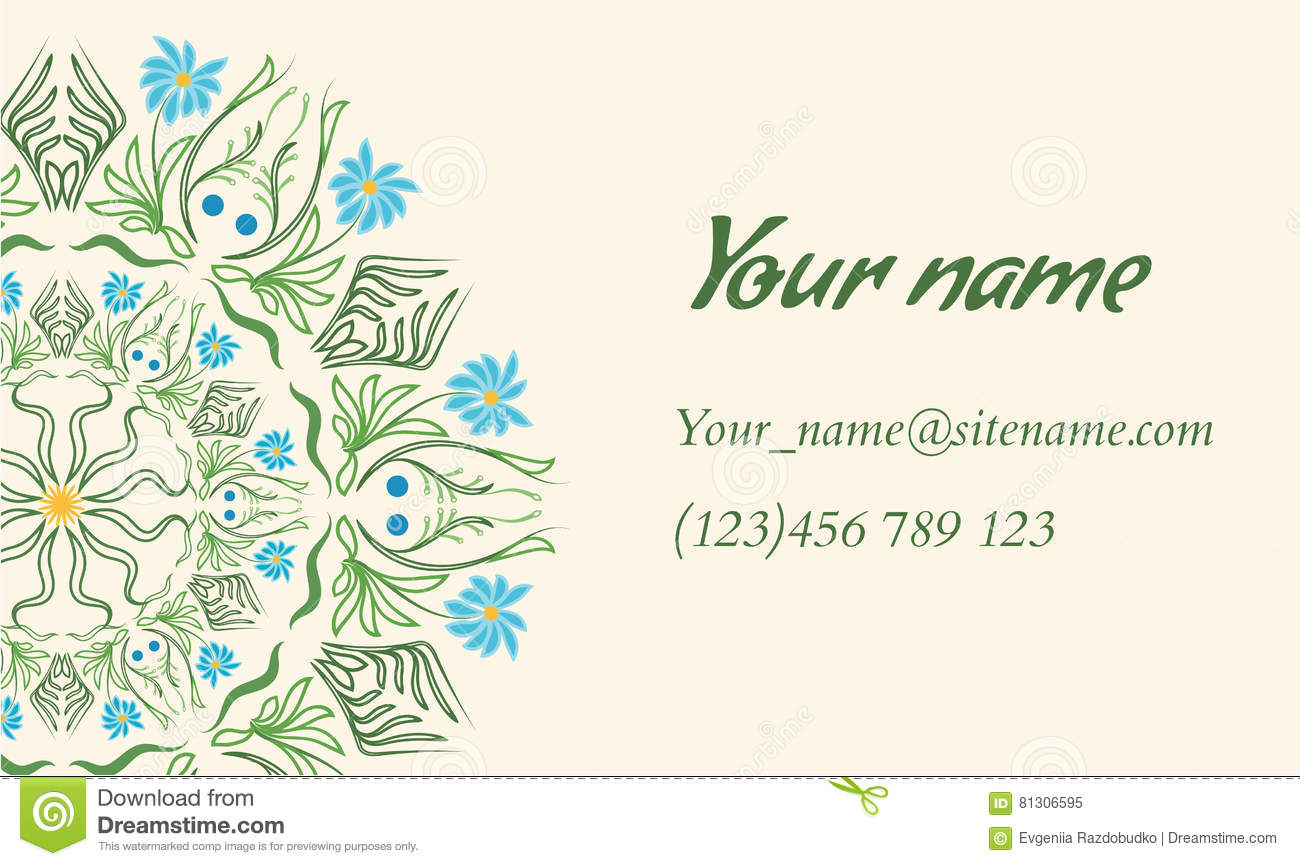 Business card with floral ornament in indian style stock vector download comp reheart Images