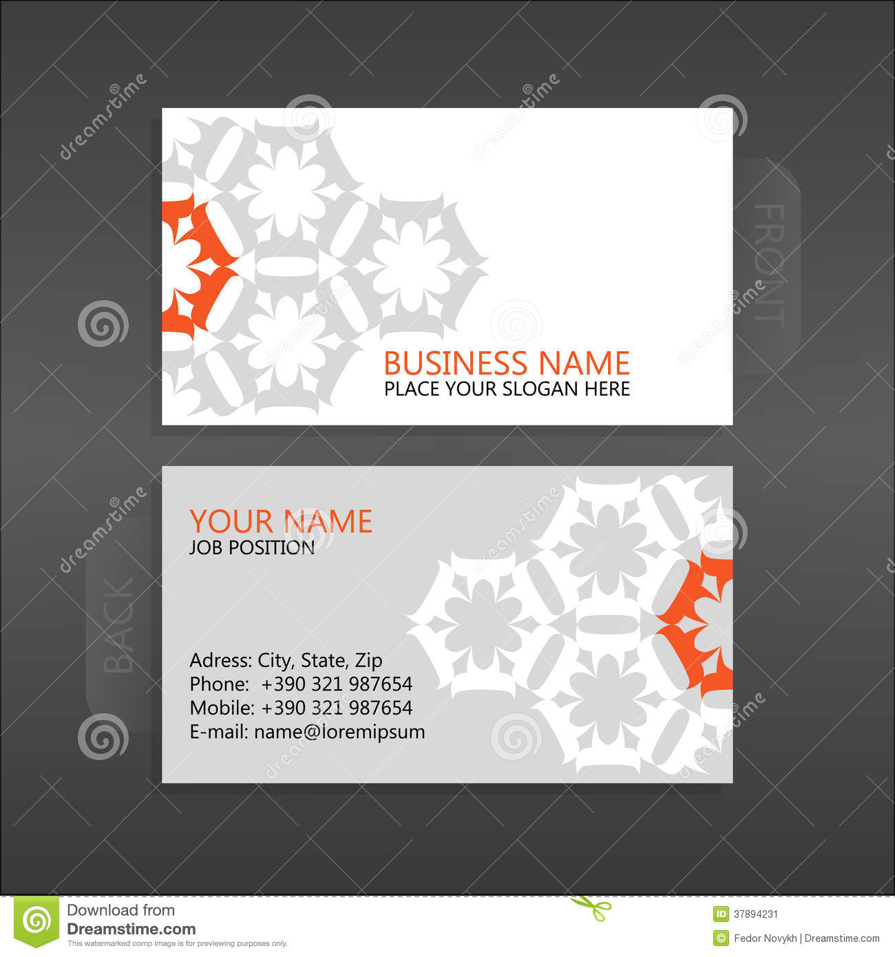 Business card. Floral