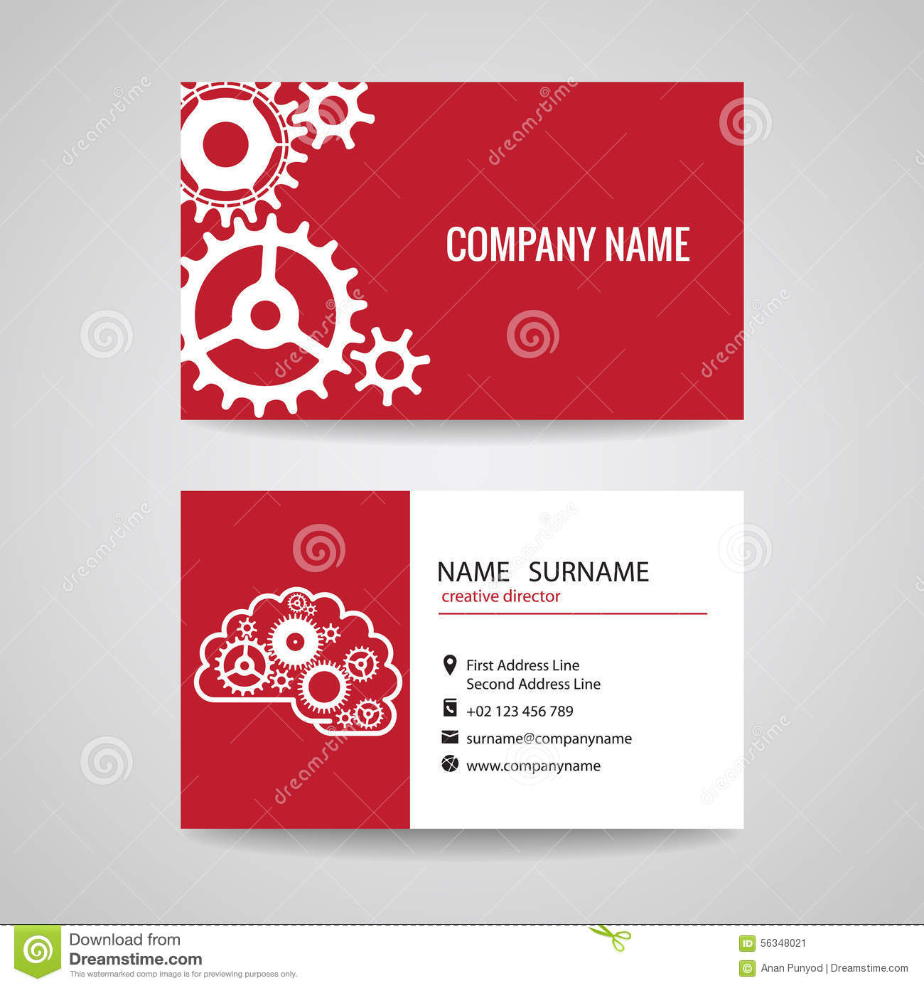 Business card gear idea for engineer and mechanical stock vector business card gear idea for engineer and mechanical reheart Images