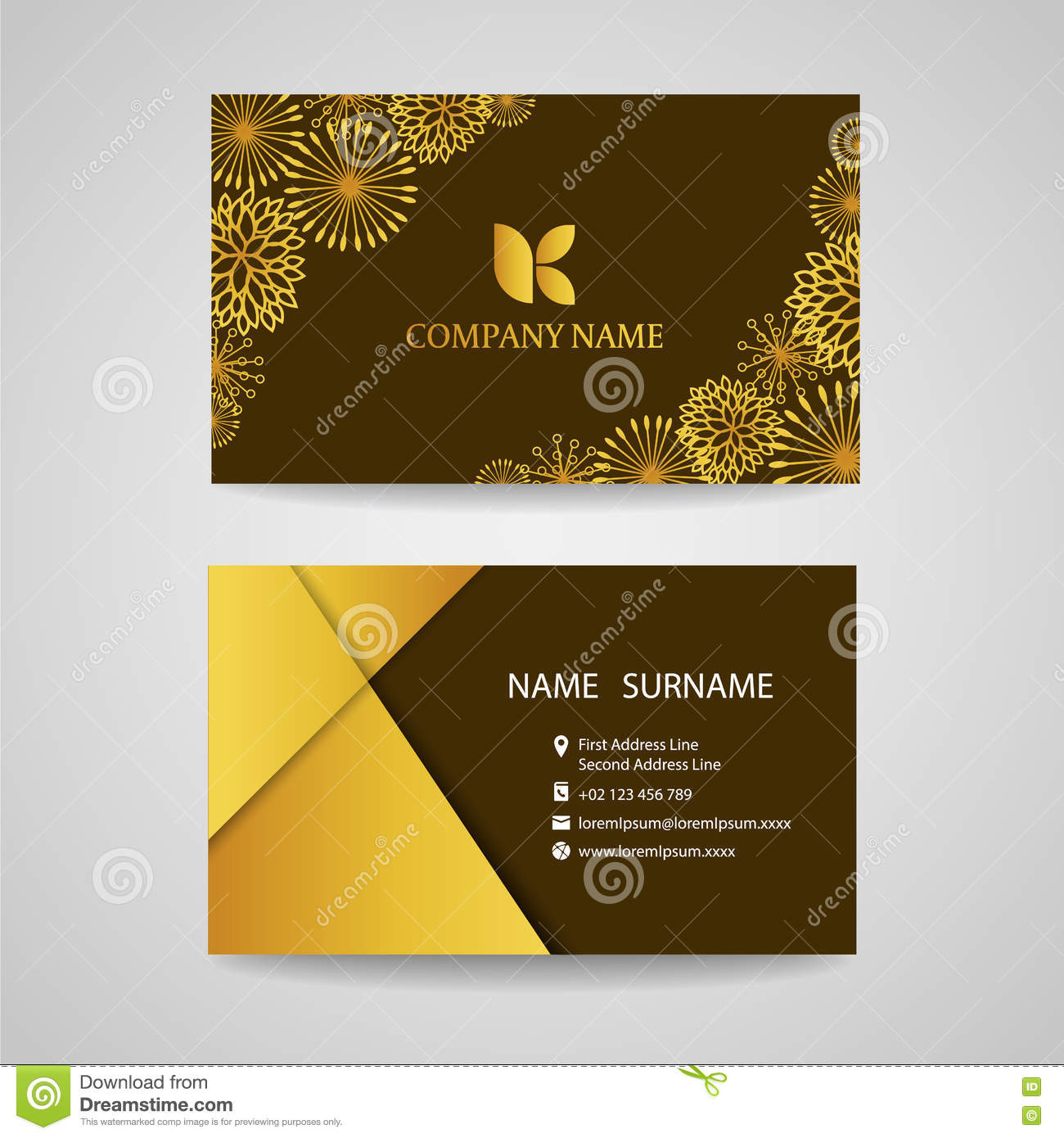 Business card gold floral frame on brown background vector business card gold floral frame on brown background vector design magicingreecefo Gallery