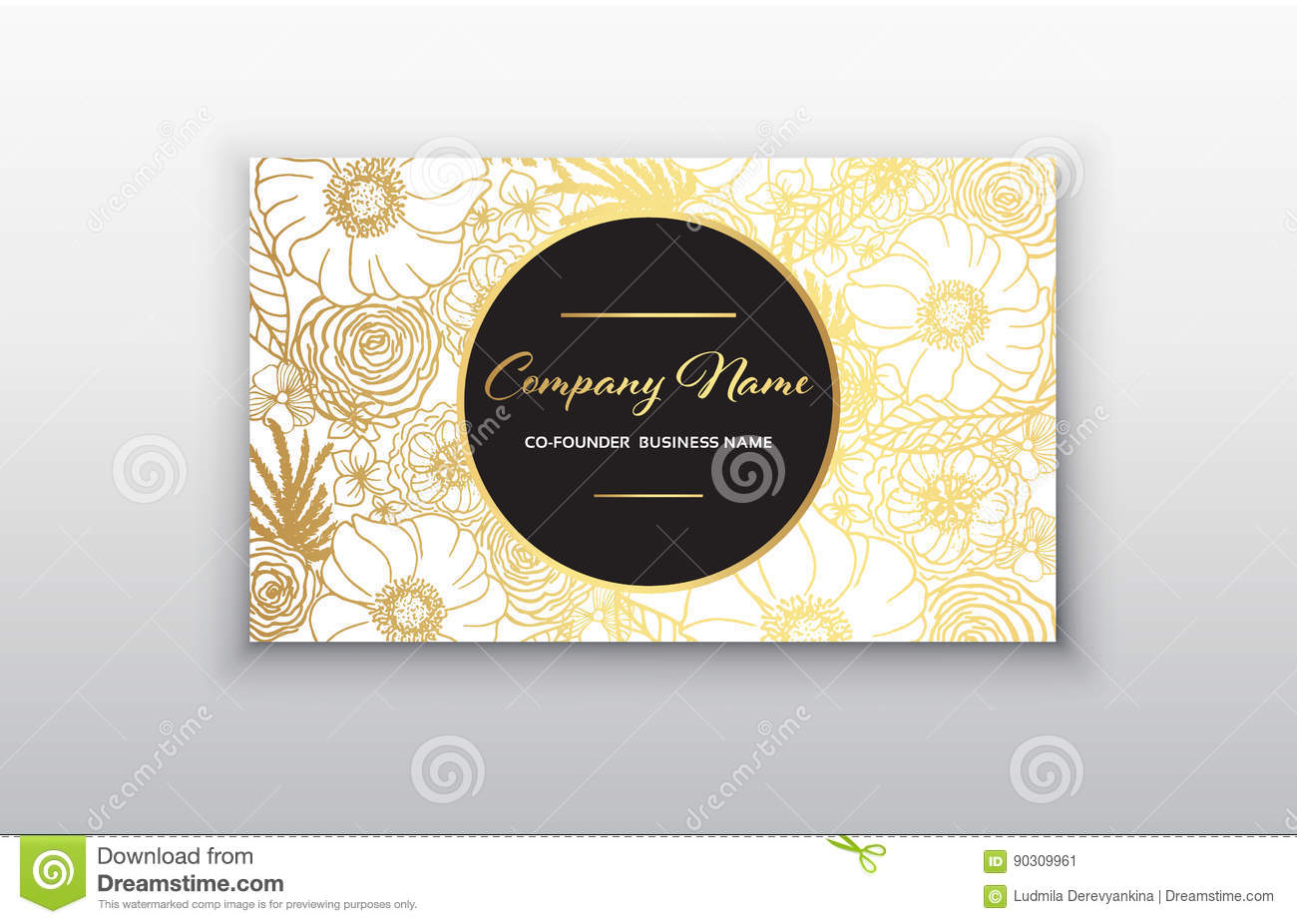 Business Card - Gold Floral Frame. Stylish Golden Premium Luxury ...