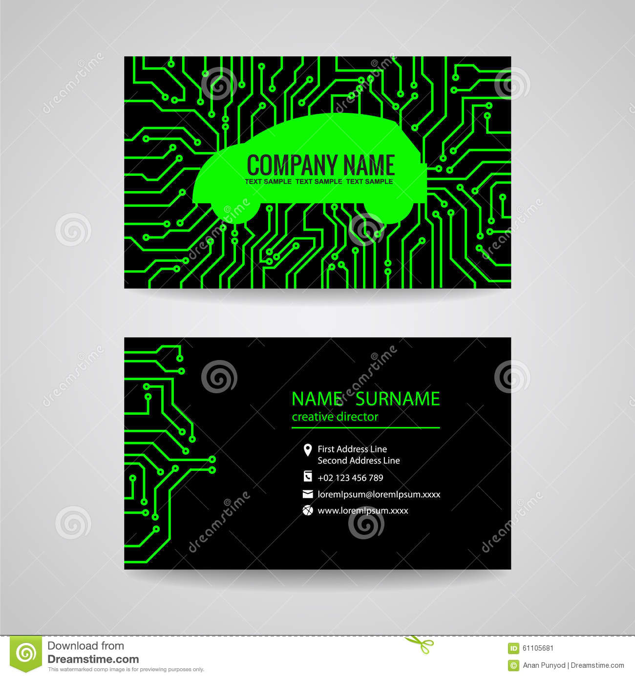 Business card green car and electronic printed circuit board on business card green car and electronic printed circuit board on black background reheart Image collections