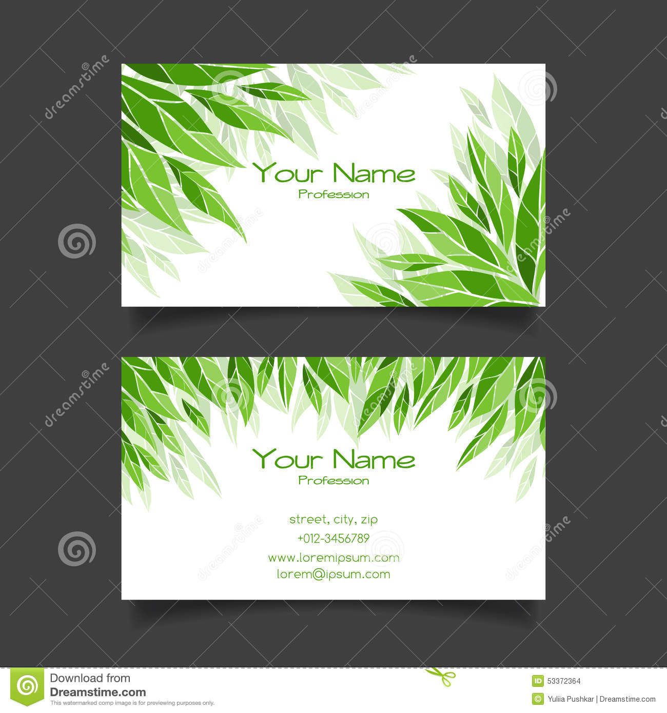 Business Card With Green Leaves. Vector Template Stock Vector ...