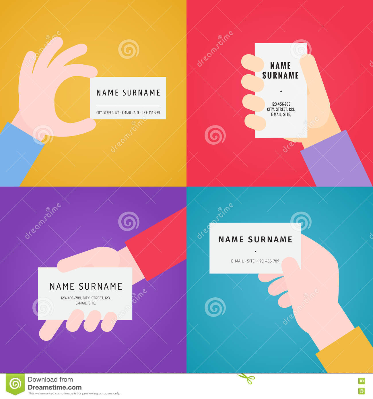 Business card in hand flat vector set stock vector image 80561070 business card in hand flat vector set magicingreecefo Choice Image