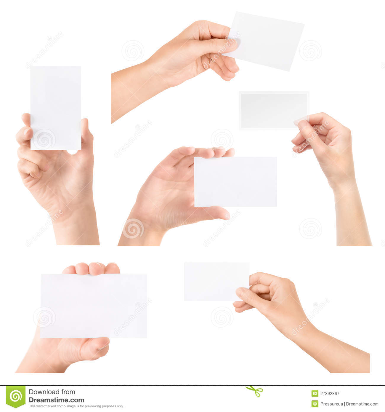 Business card in hand isolated set