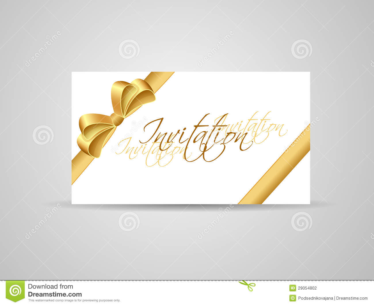 business card or invitation with golden ribbon stock vector