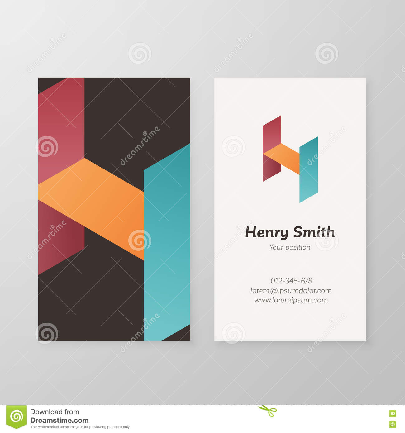 business card isometric logo letter h template