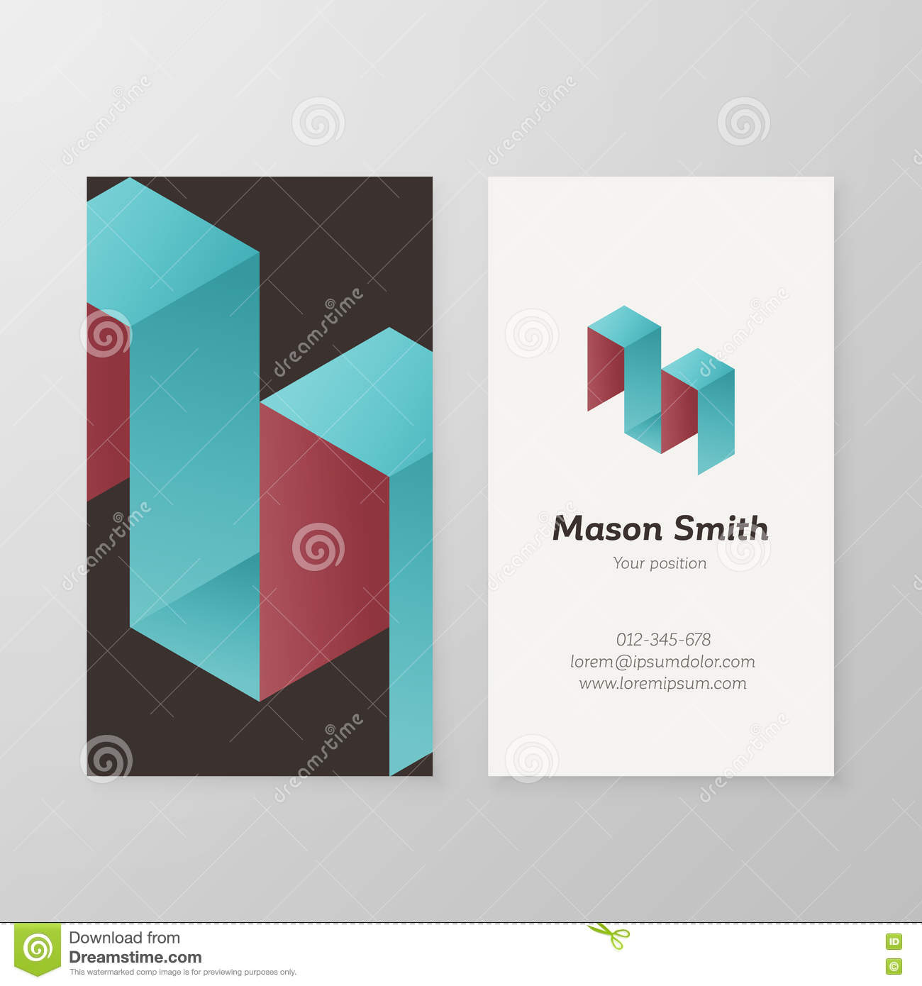 business card isometric logo letter m template stock vector