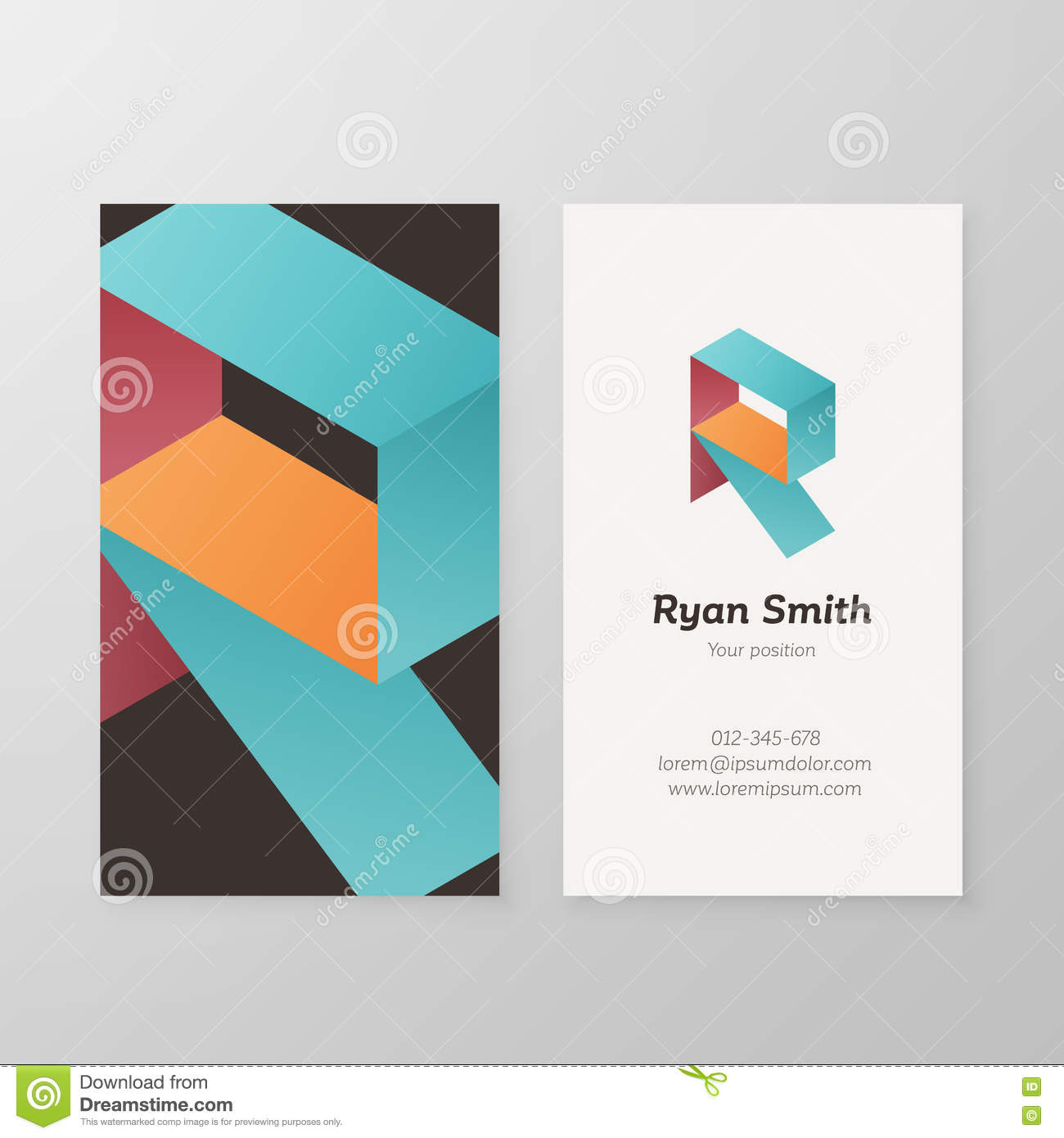 business card isometric logo letter r template stock