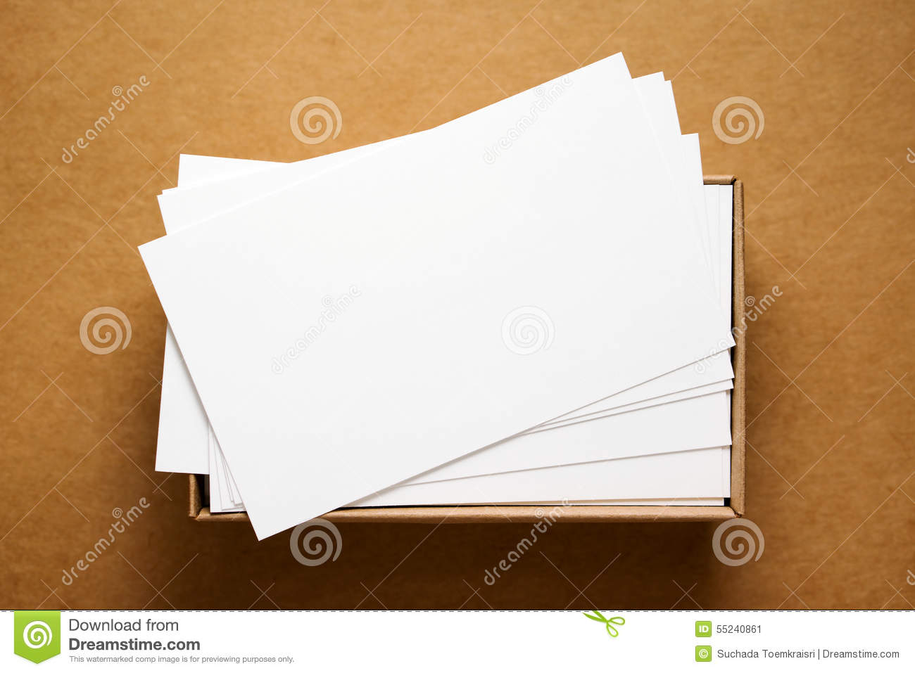 Business Card On Kraft Cardboard Stock Image - Image of space, white ...