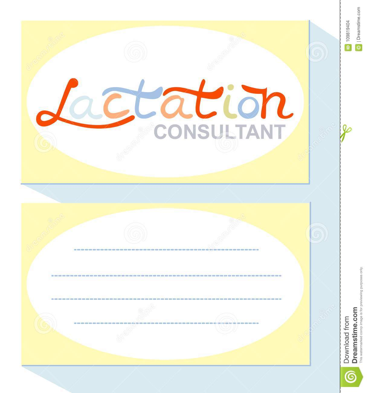 Business card for a lactation consultant, breast feeding