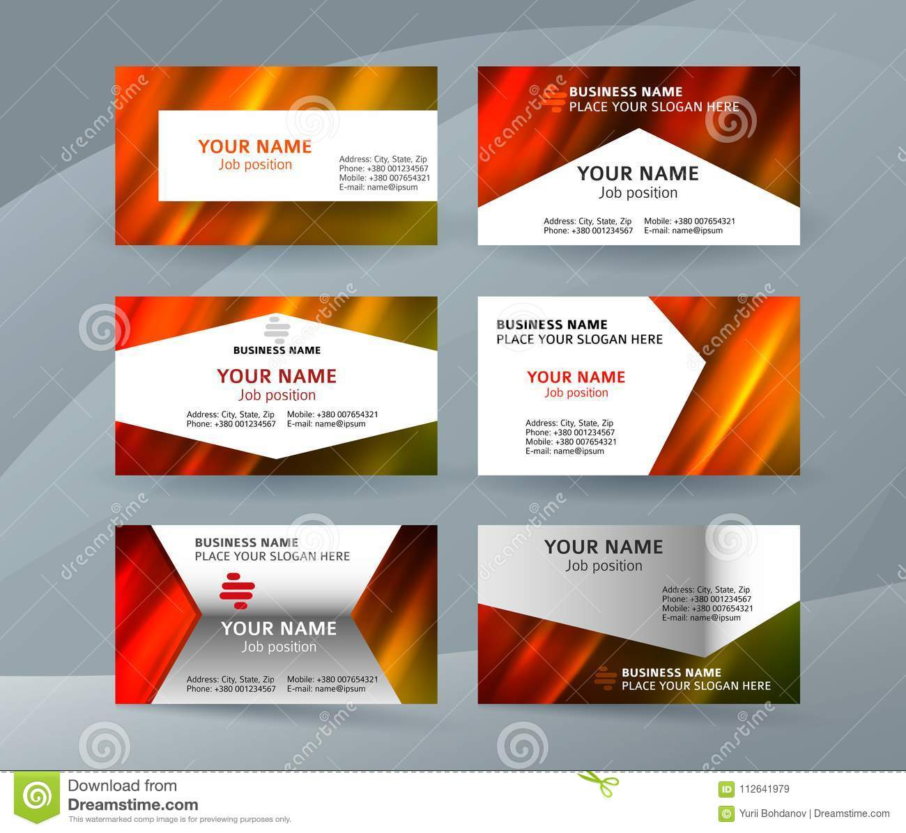business card layout template set26