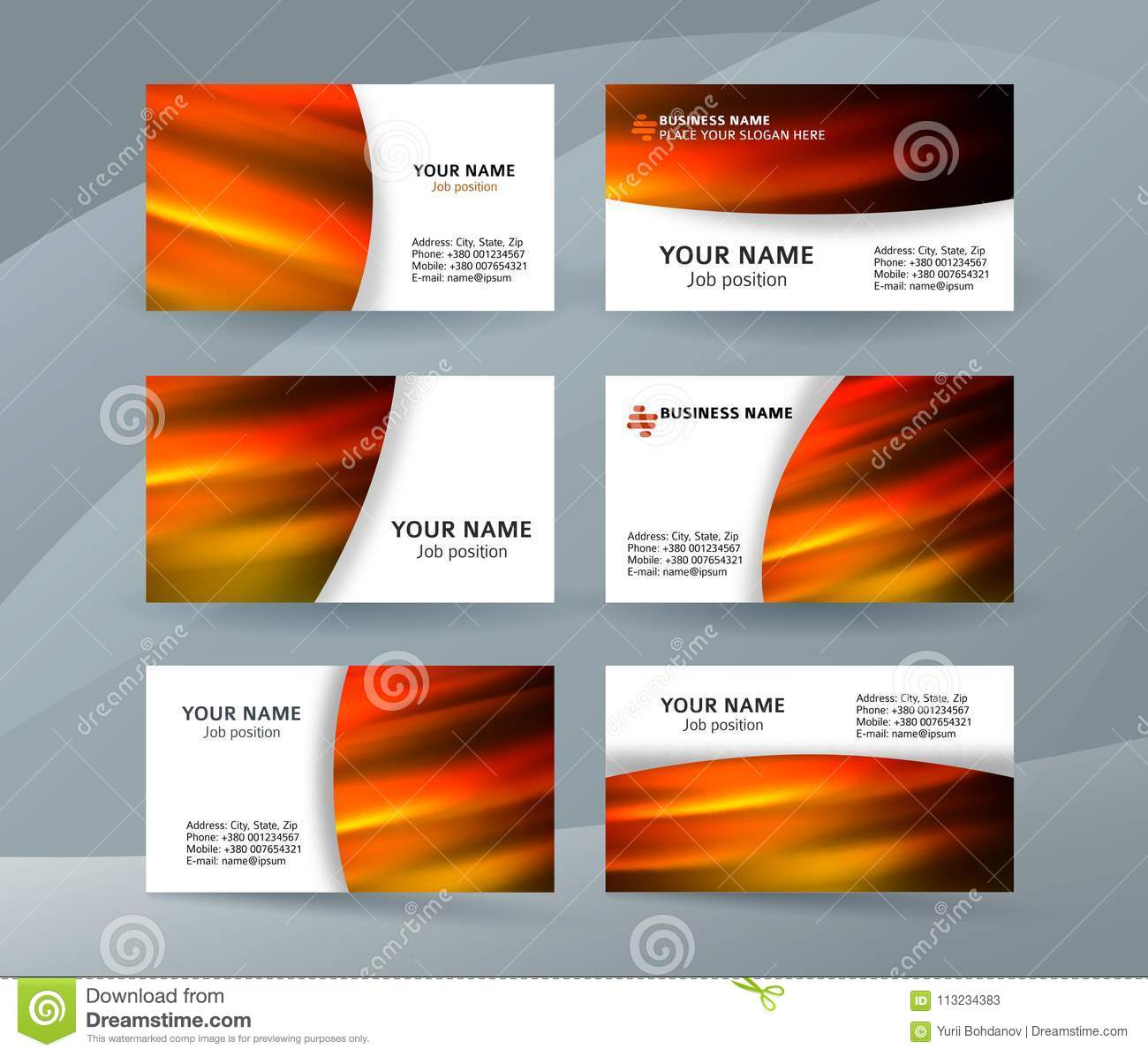 Business Card Layout Template Set31 Stock Vector - Illustration of ...