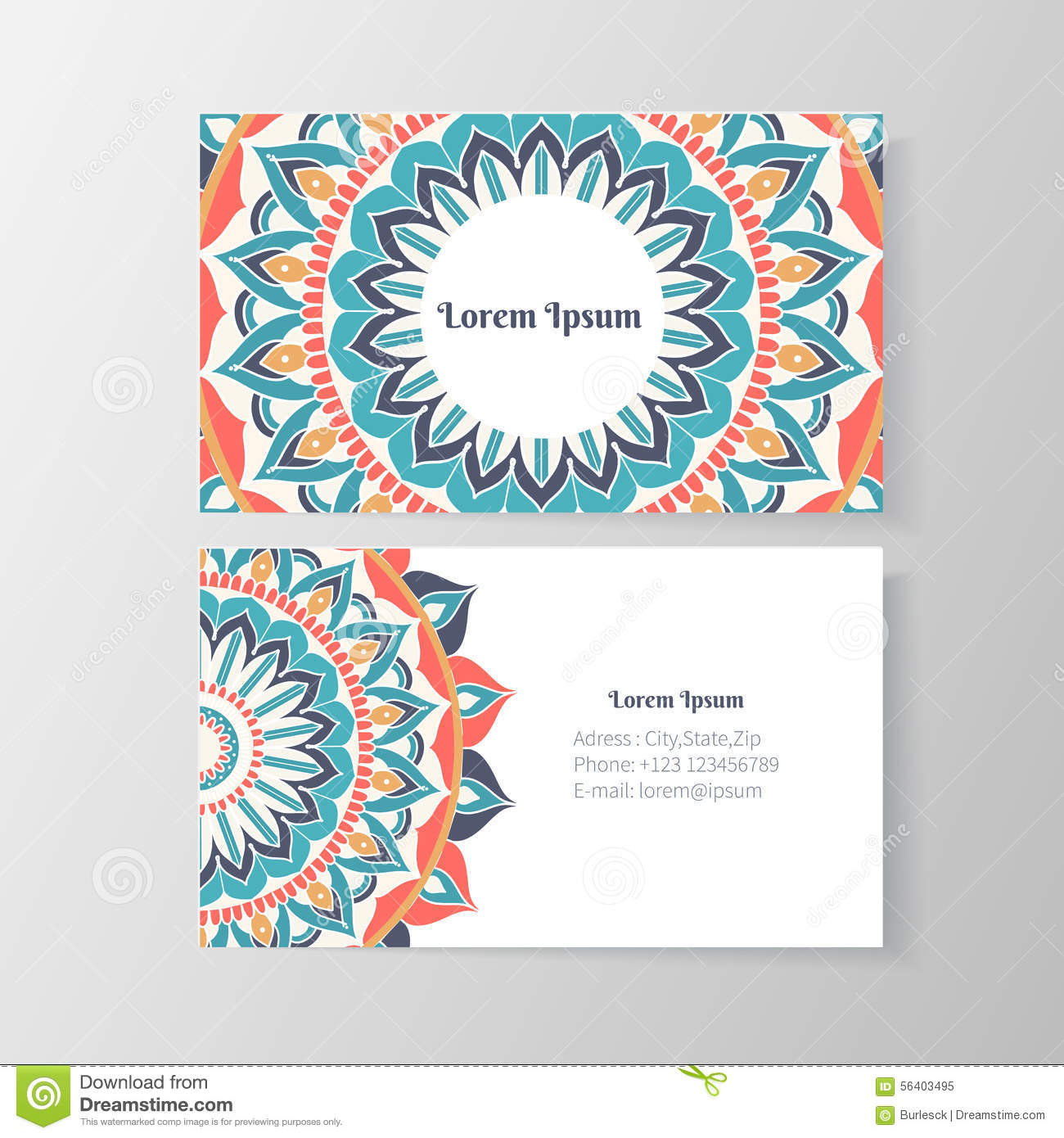 Business card with mandala floral pattern stock vector business card with mandala floral pattern accmission