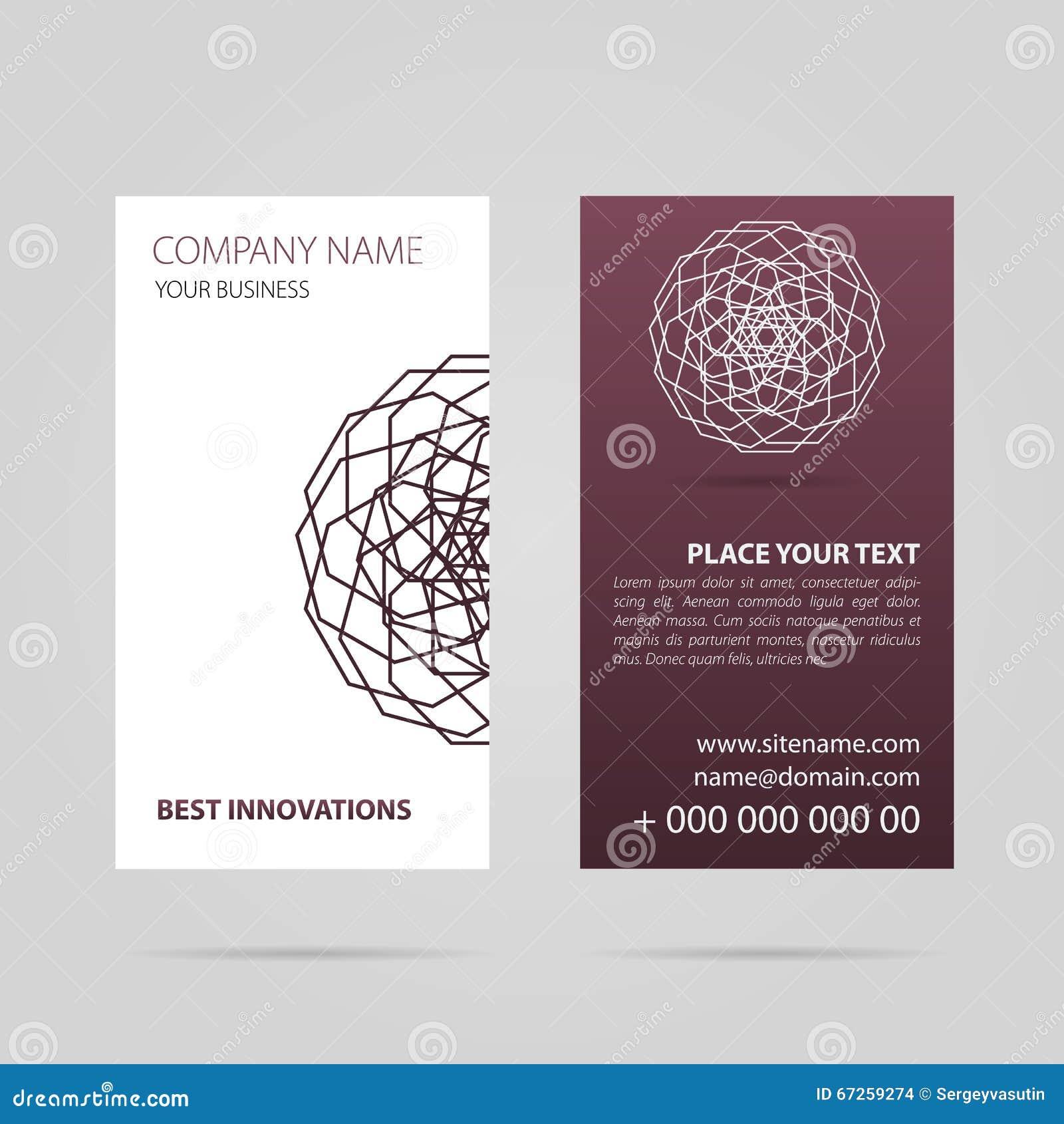 business card with mandala stock illustration