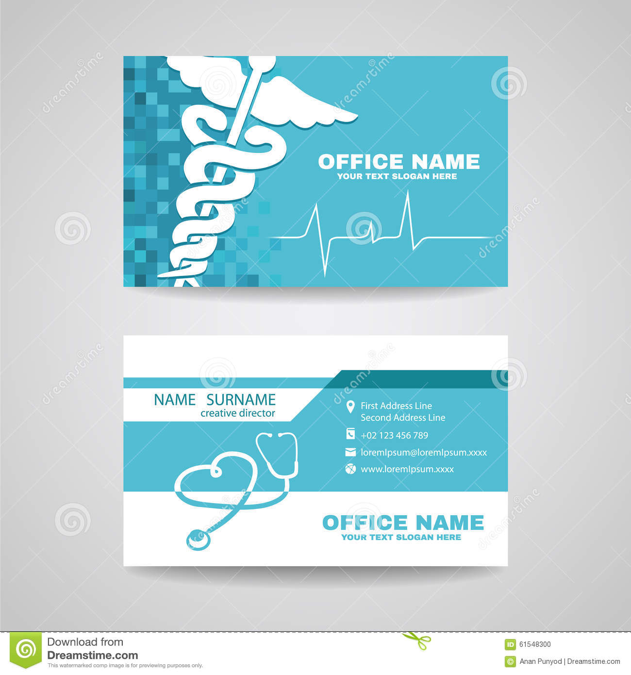 Business Card For Medical Healthcare Stock Vector - Image: 61548300
